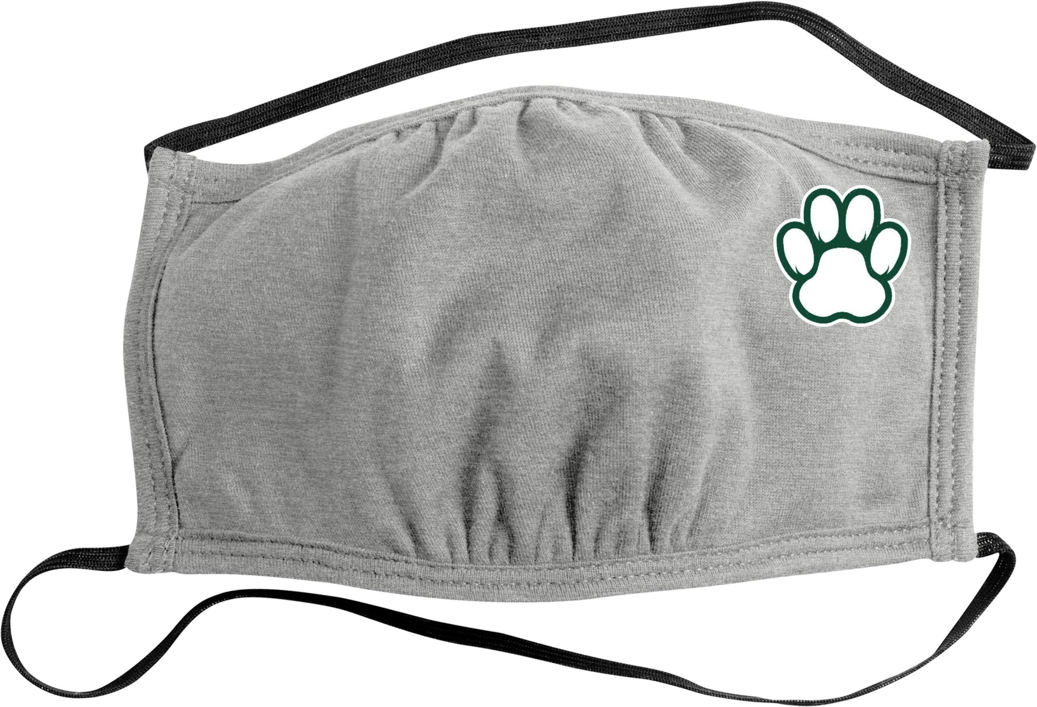 Face Mask: Paw Print 2-Strap - Heather Gray
