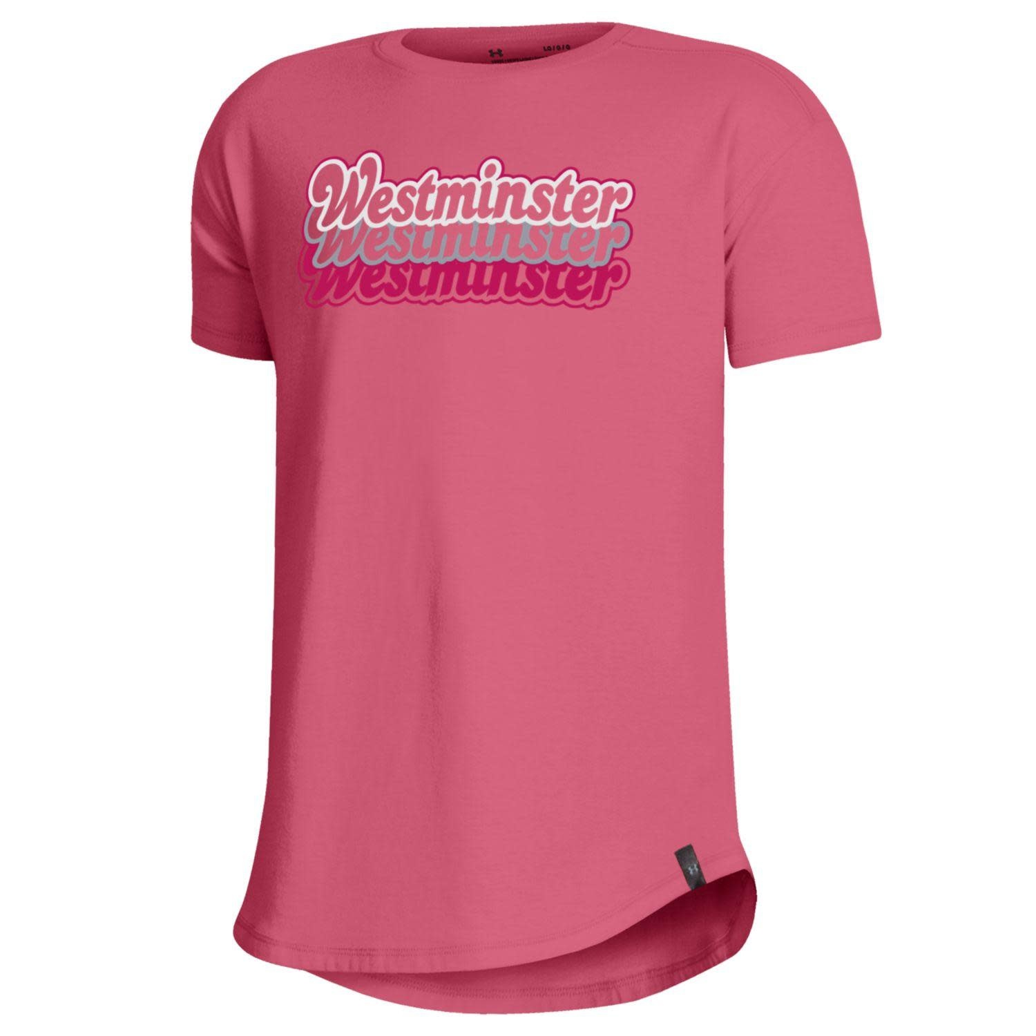T: UA Girls Performance Cotton - Pink Lemonade, Silver Westminster