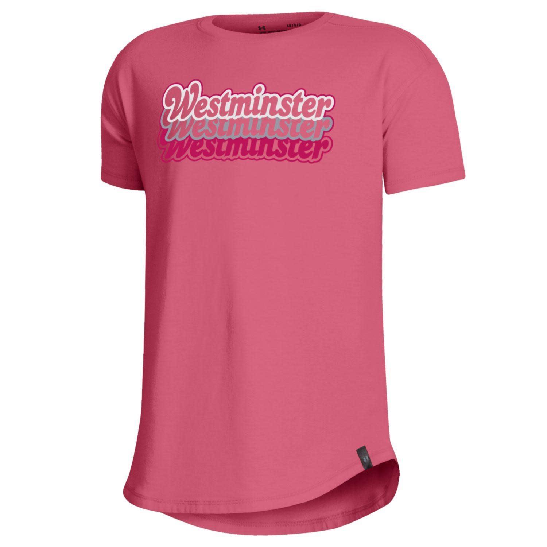 Under Armour T: UA Girls Performance Cotton - Pink Lemonade, Silver Westminster