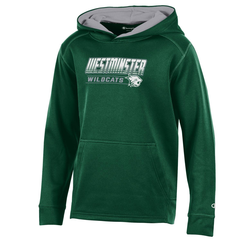 Sweatshirt: Champion Youth Athletic Fleece Hoody - Dark Green