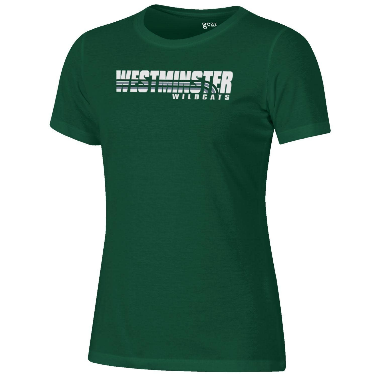 Under Armour T: Women's Relax Short Sleeve, Green, Westminster with lines