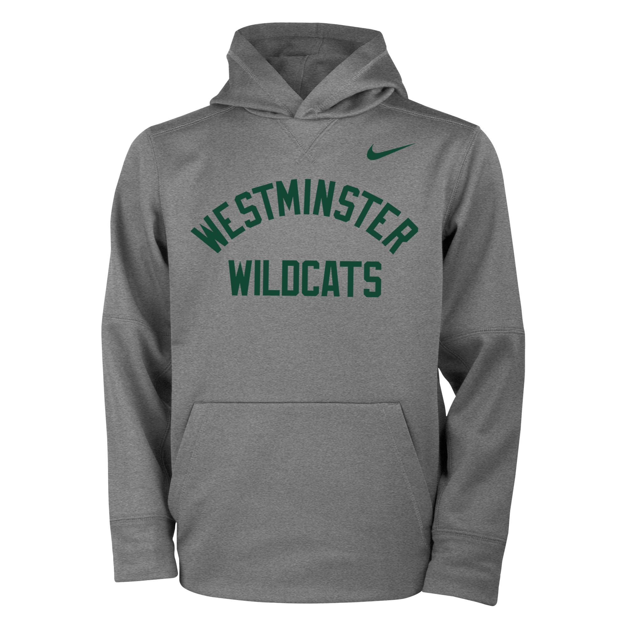 Nike Sweatshirt: Therma PO Hoody Gray w/green lettering