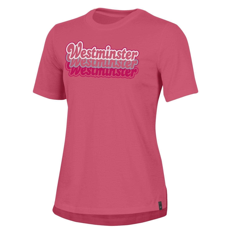Under Armour T: UA Women's Performance Cotton SS Pink/SilverWhite