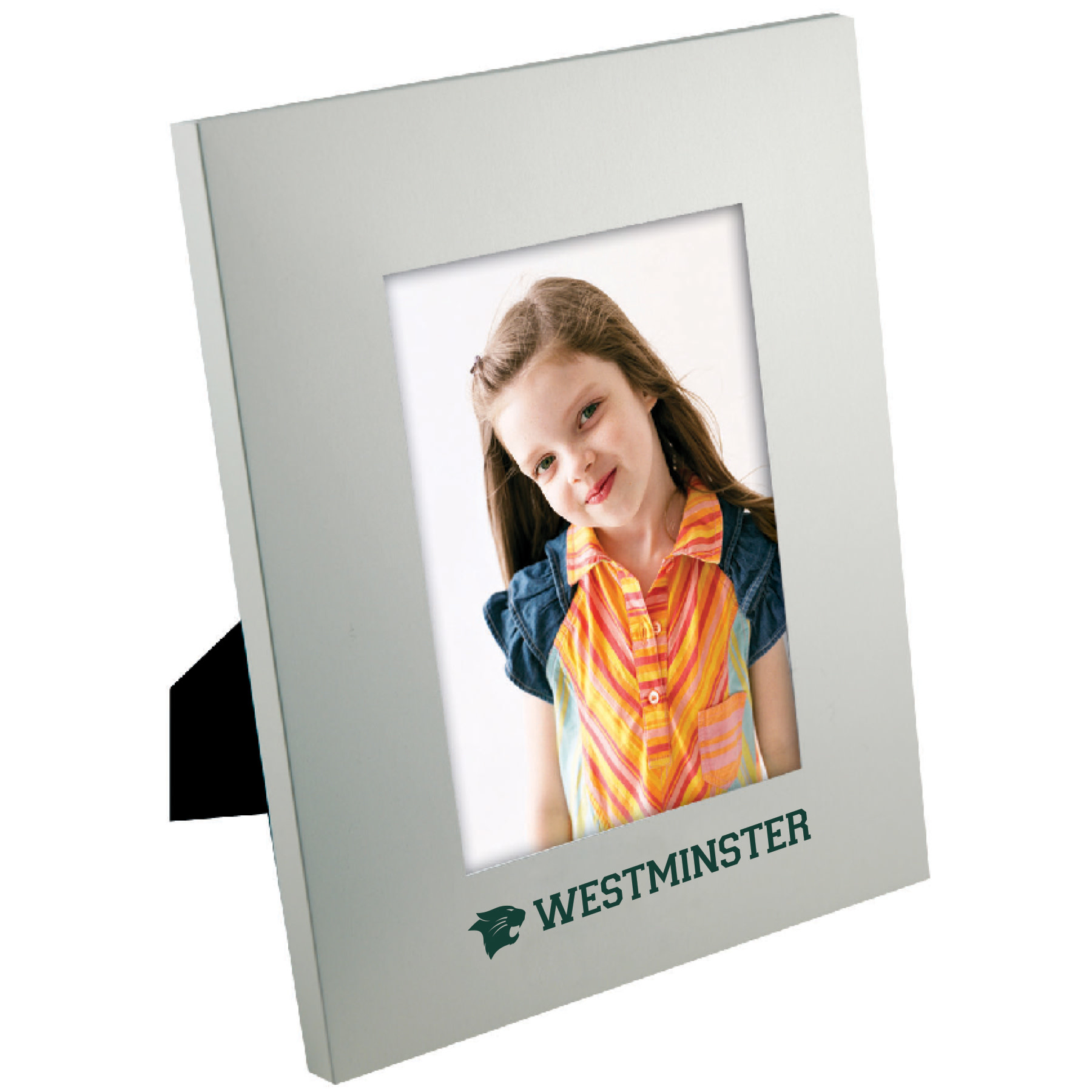 Frame: 5x7 Portrait Matte Brushed Silver w/Green WM and Wildcat