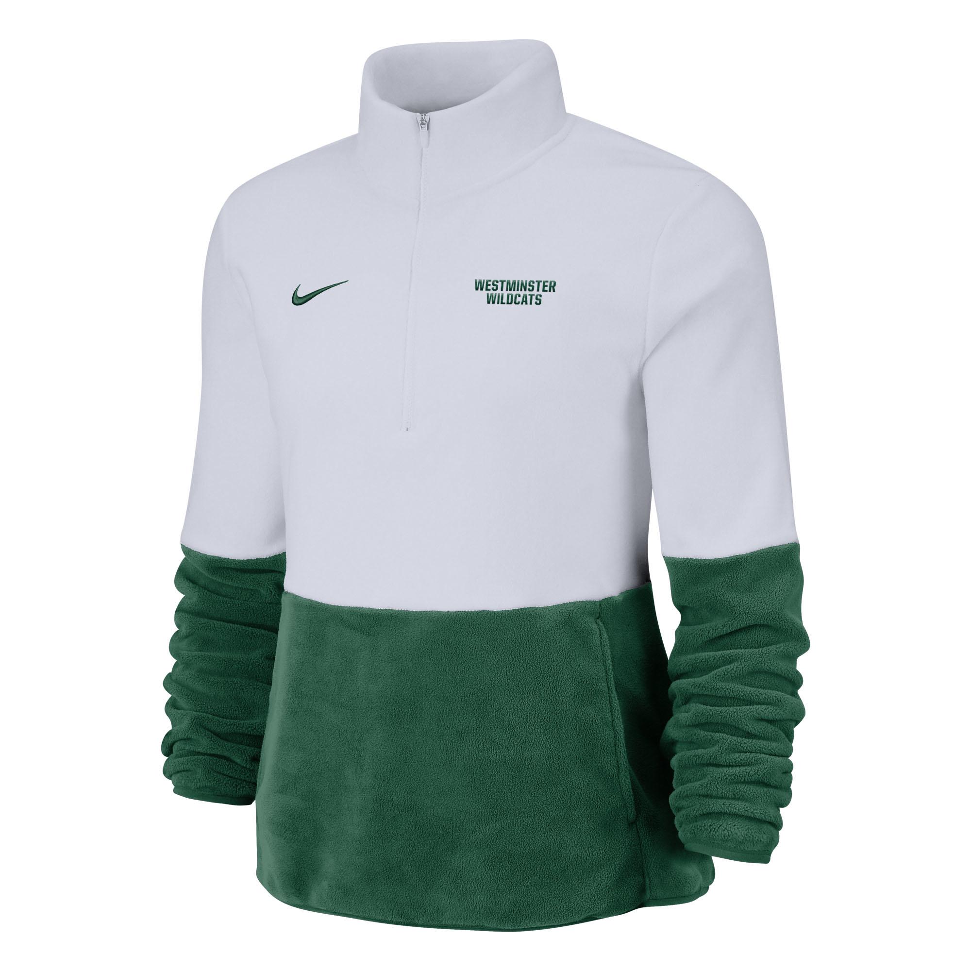 Nike Pullover: Nike Womens Thermal Fleece Half Zip Color Block White/Green