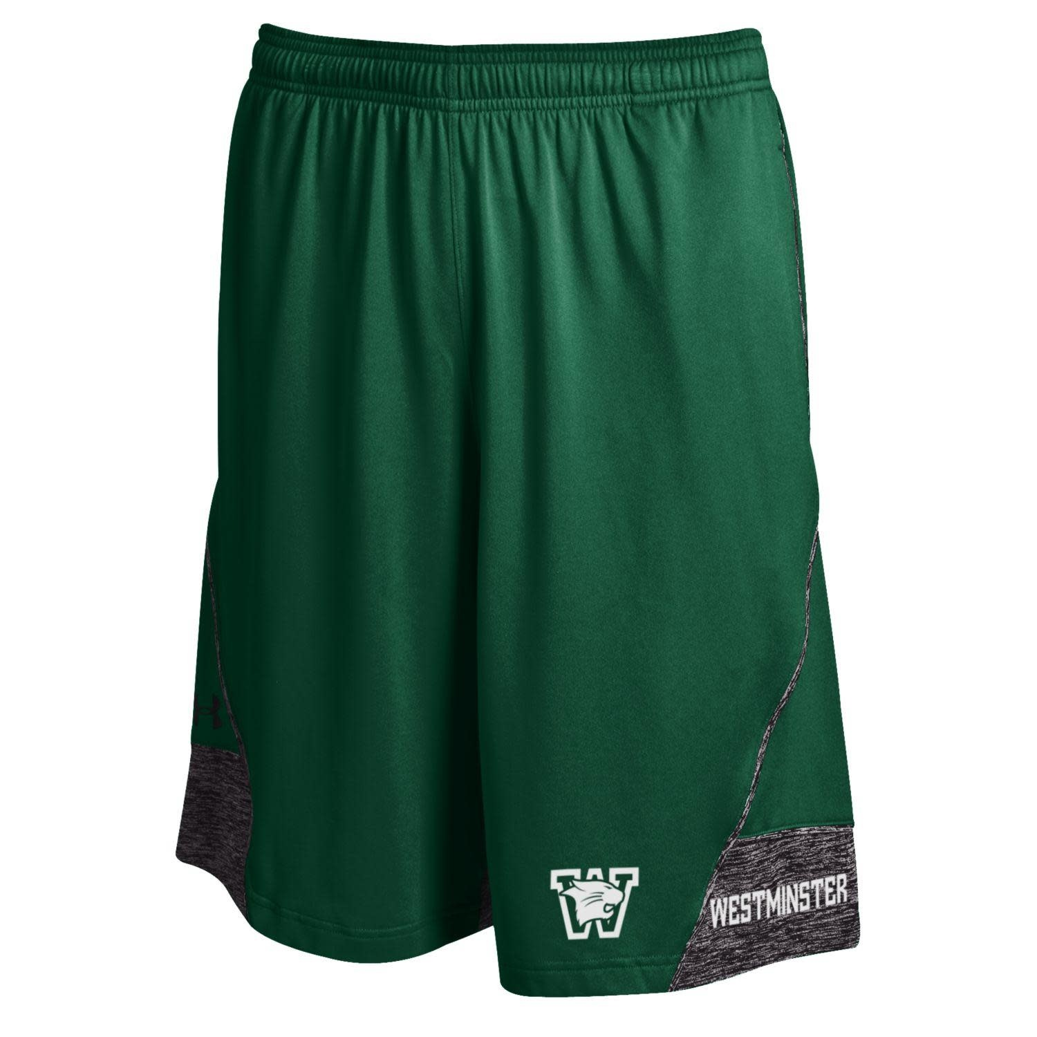 Under Armour Shorts: UA Tech Short - Forest/Gray - Wildcat head over W