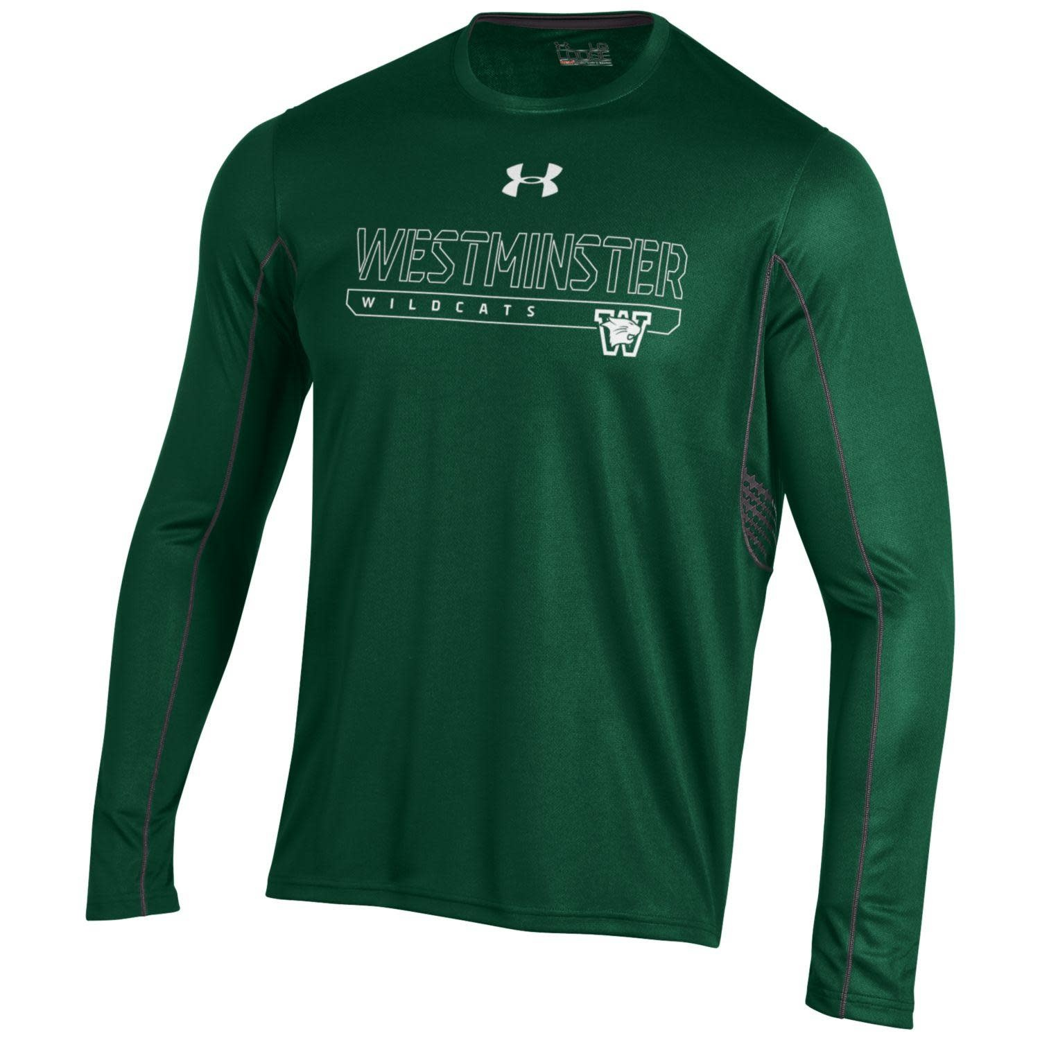 T: UA Dri-fit Long Sleeve Forest w/gray stripes, w/white West Wildcats, gray design on sides