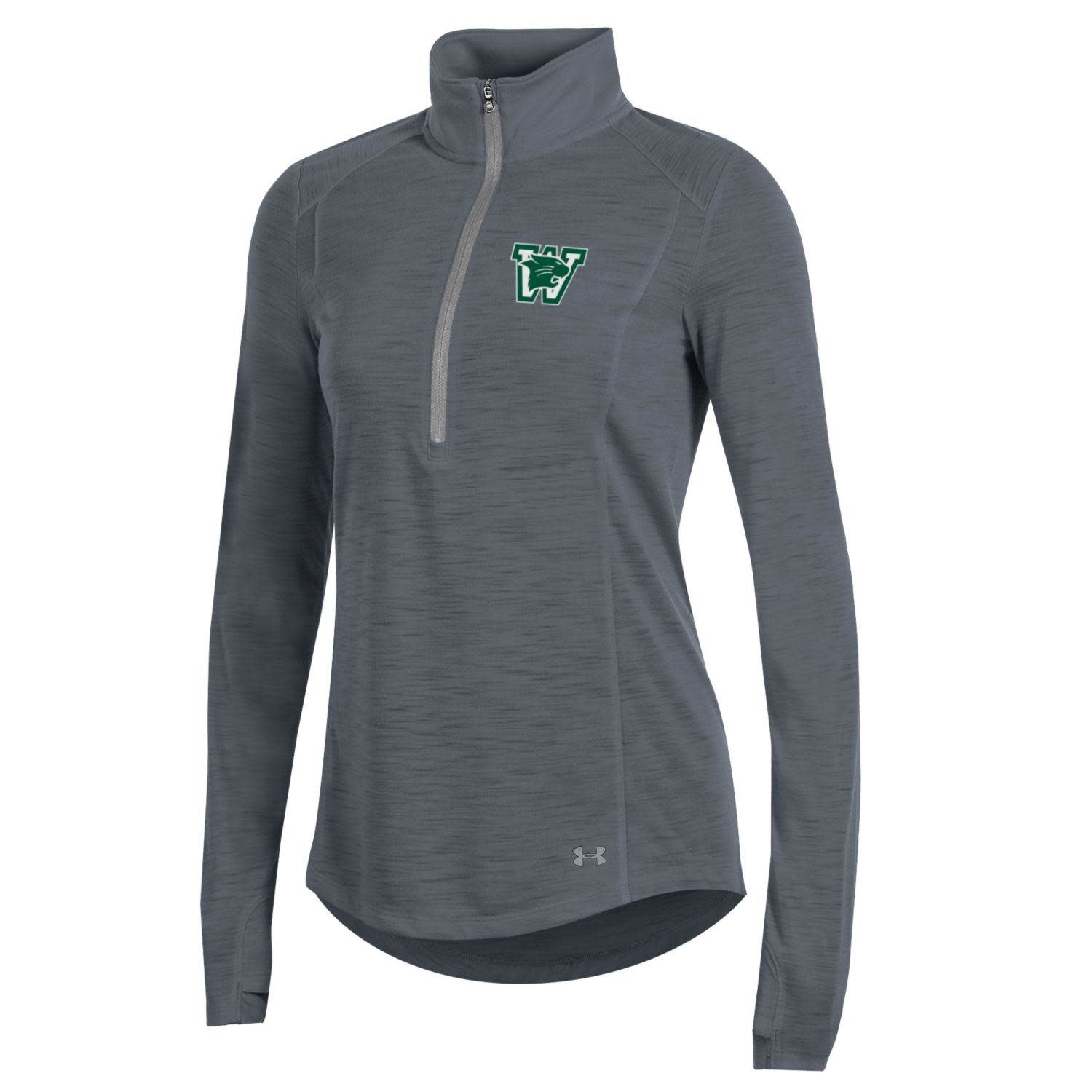 Under Armour Pullover: UA Women's Threadborne Slub 1/4 Zip - Green