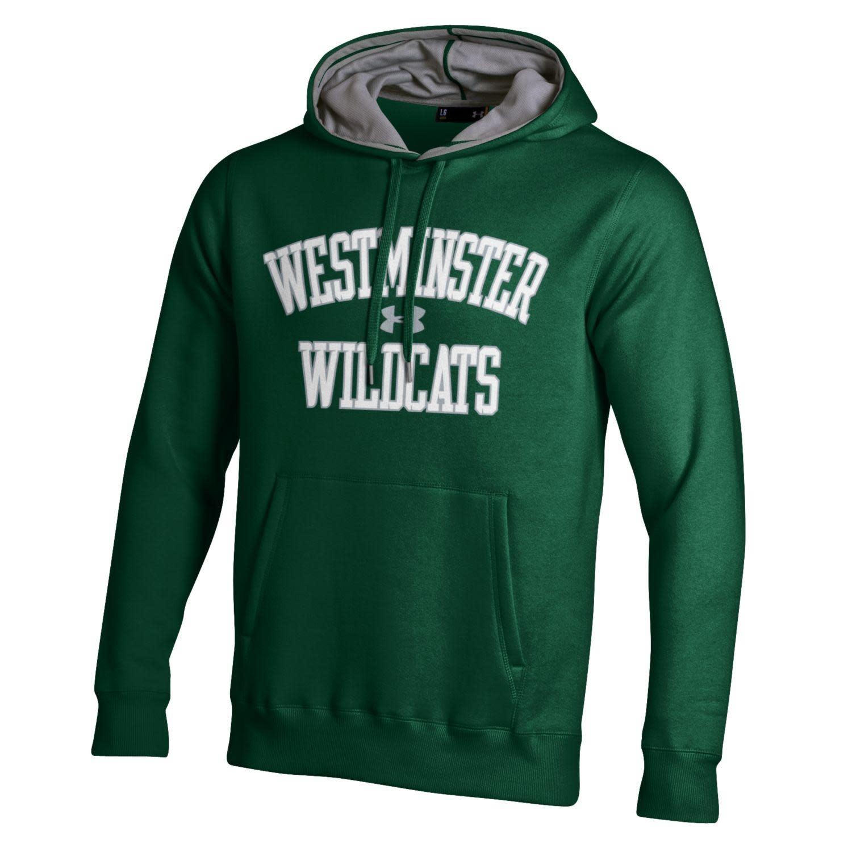 Sweatshirt: UA Rival Fleece Hoody - UA logo, West Wildcats - Green