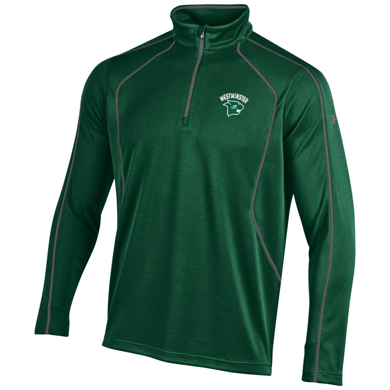 Under Armour Pullover: UA Forest Green 1/4 Zip w/logo covered zipper top