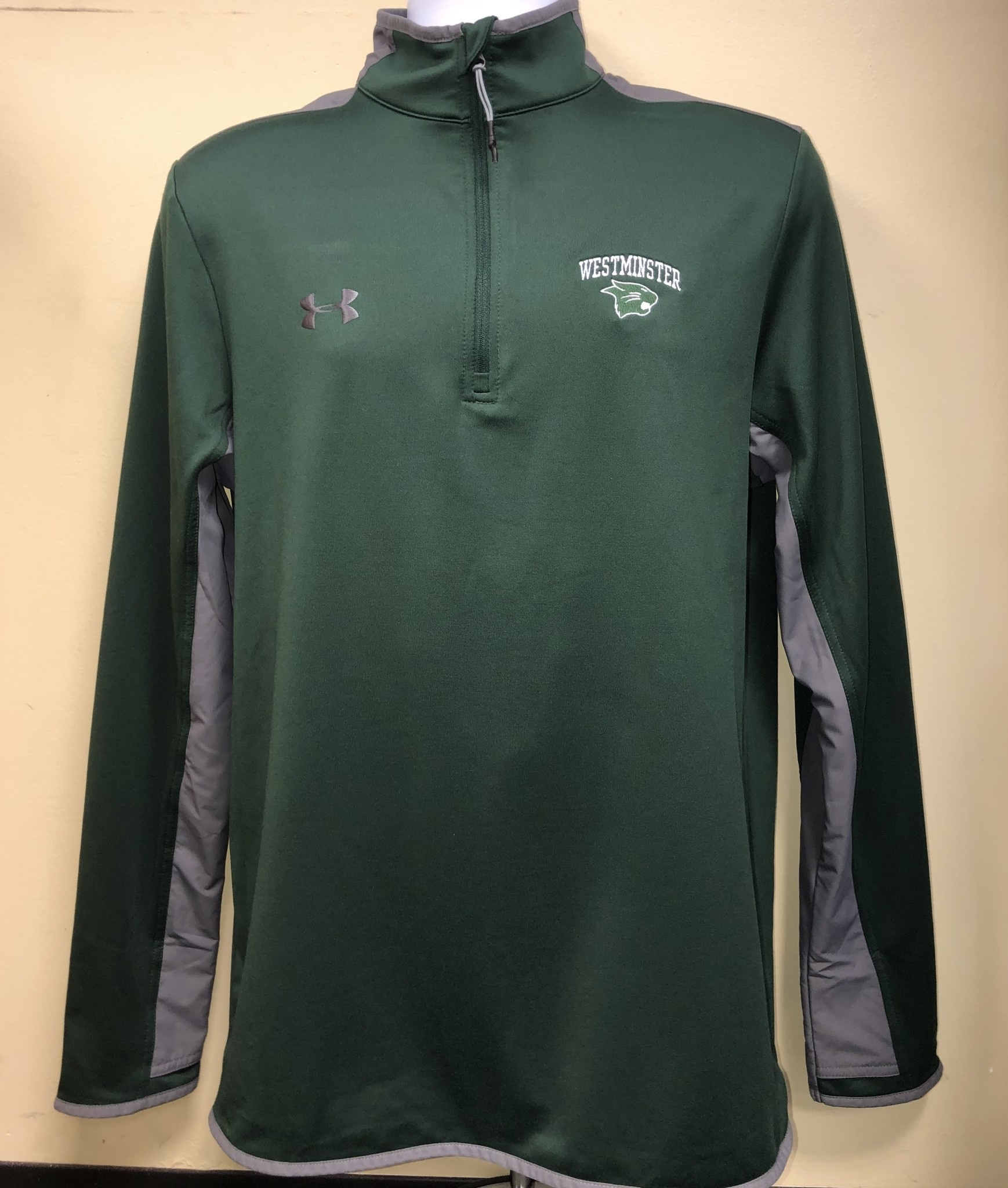 Under Armour Jacket: UA: 1/4 Zip Forest Green & Gray Westminster over Cat