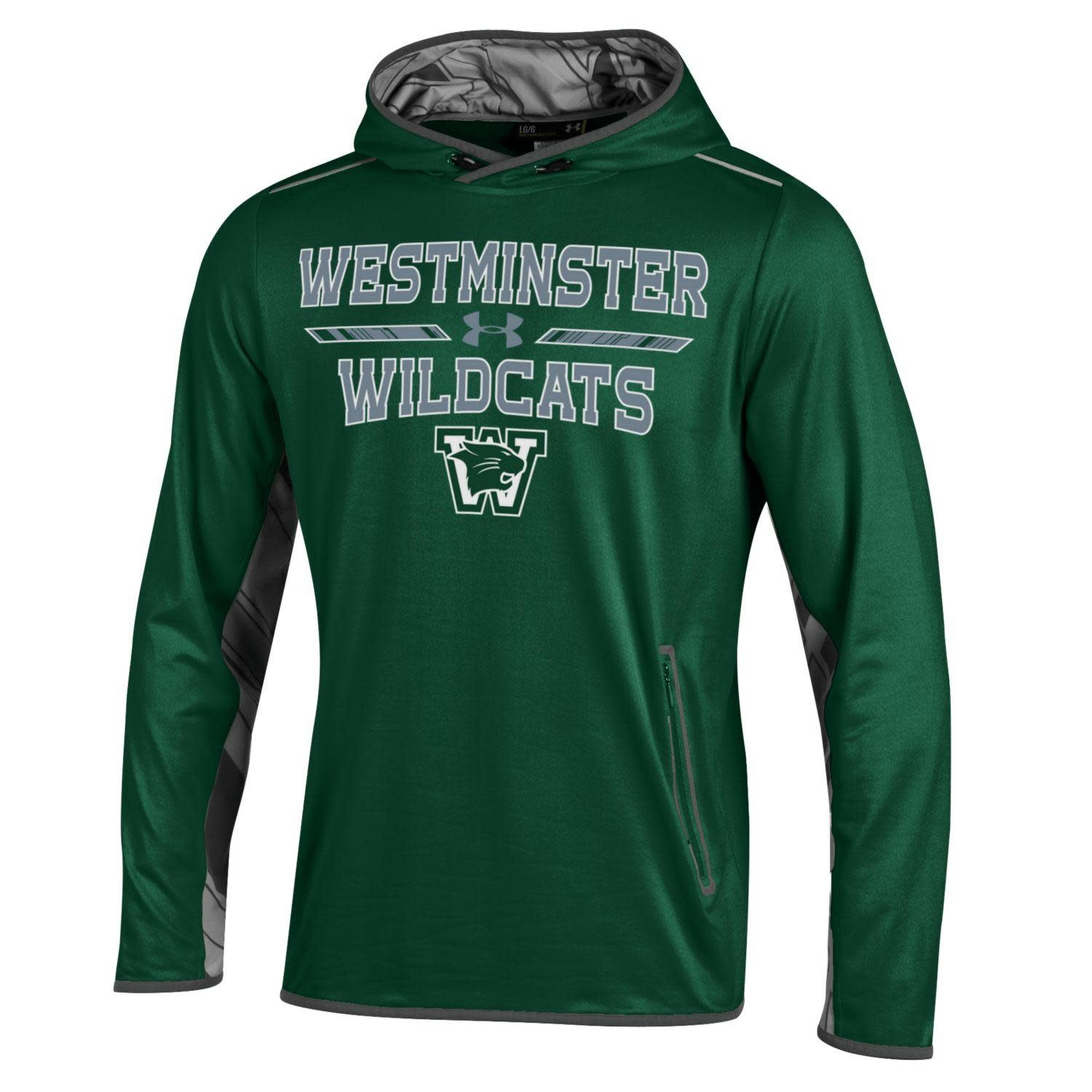Under Armour Sweatshirt: UA Forest Green WW Gray Graphic Lining