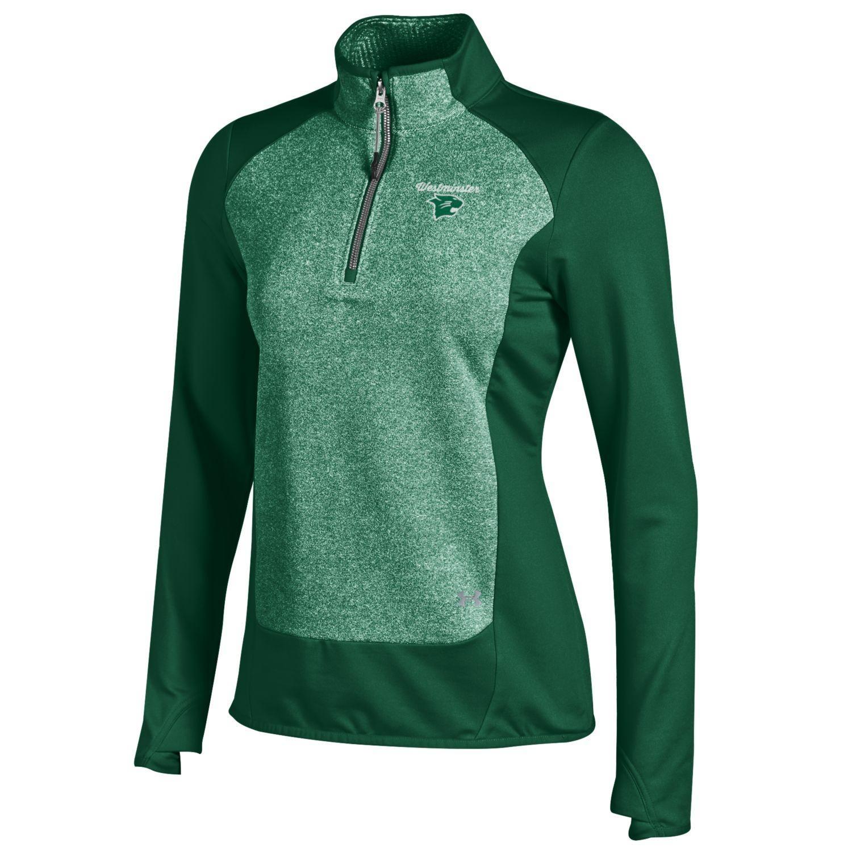 Under Armour Pullover: UA Women's Microfleece 1/4 Zip - Green/Heather