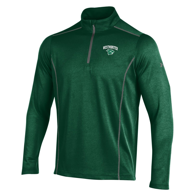 Under Armour Pullover: UA Medium 1/4 Zip Forest Green horizontal pattern with granite trim