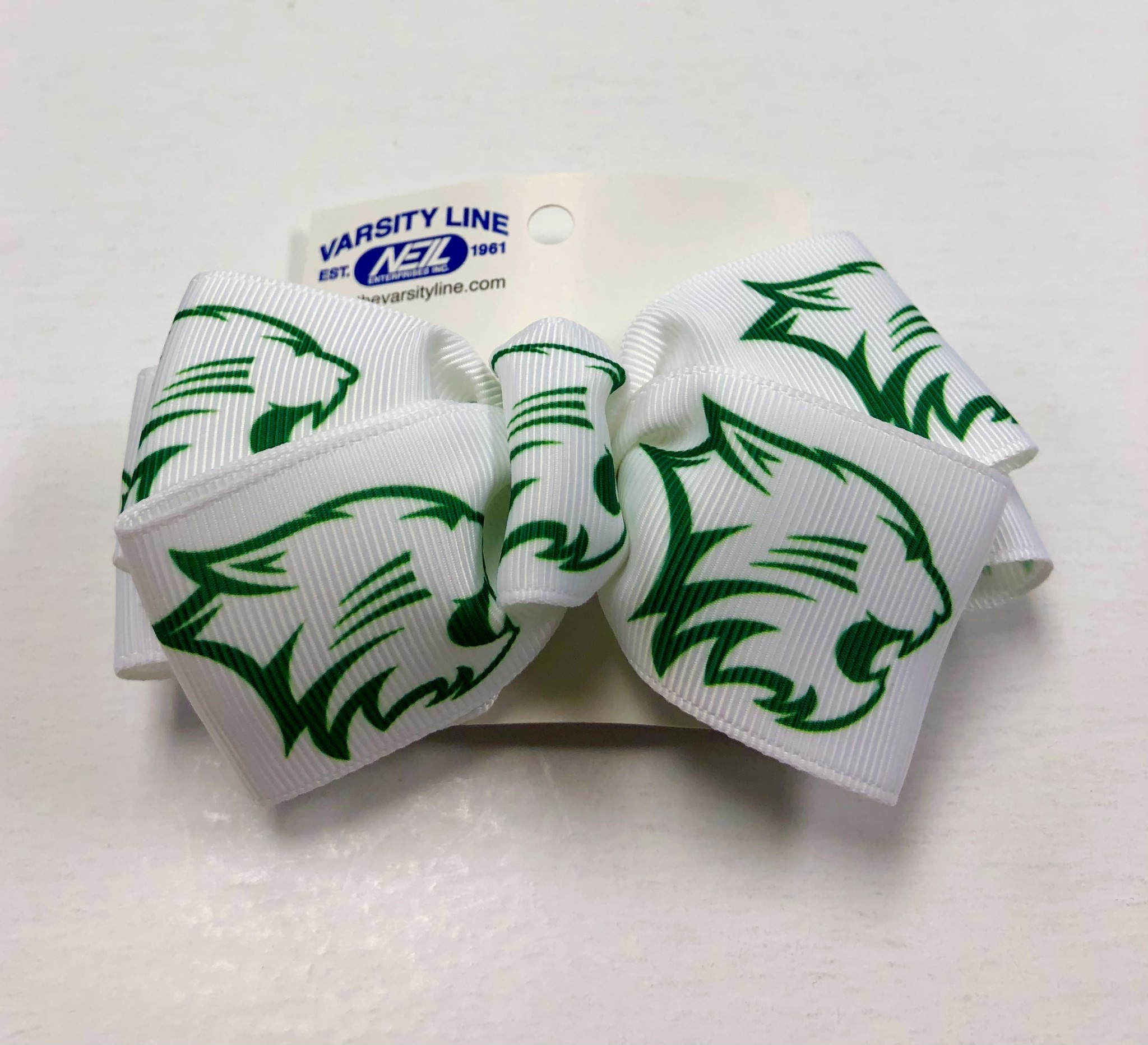 Bow: White w/Green Wildcat Butterfly Clip