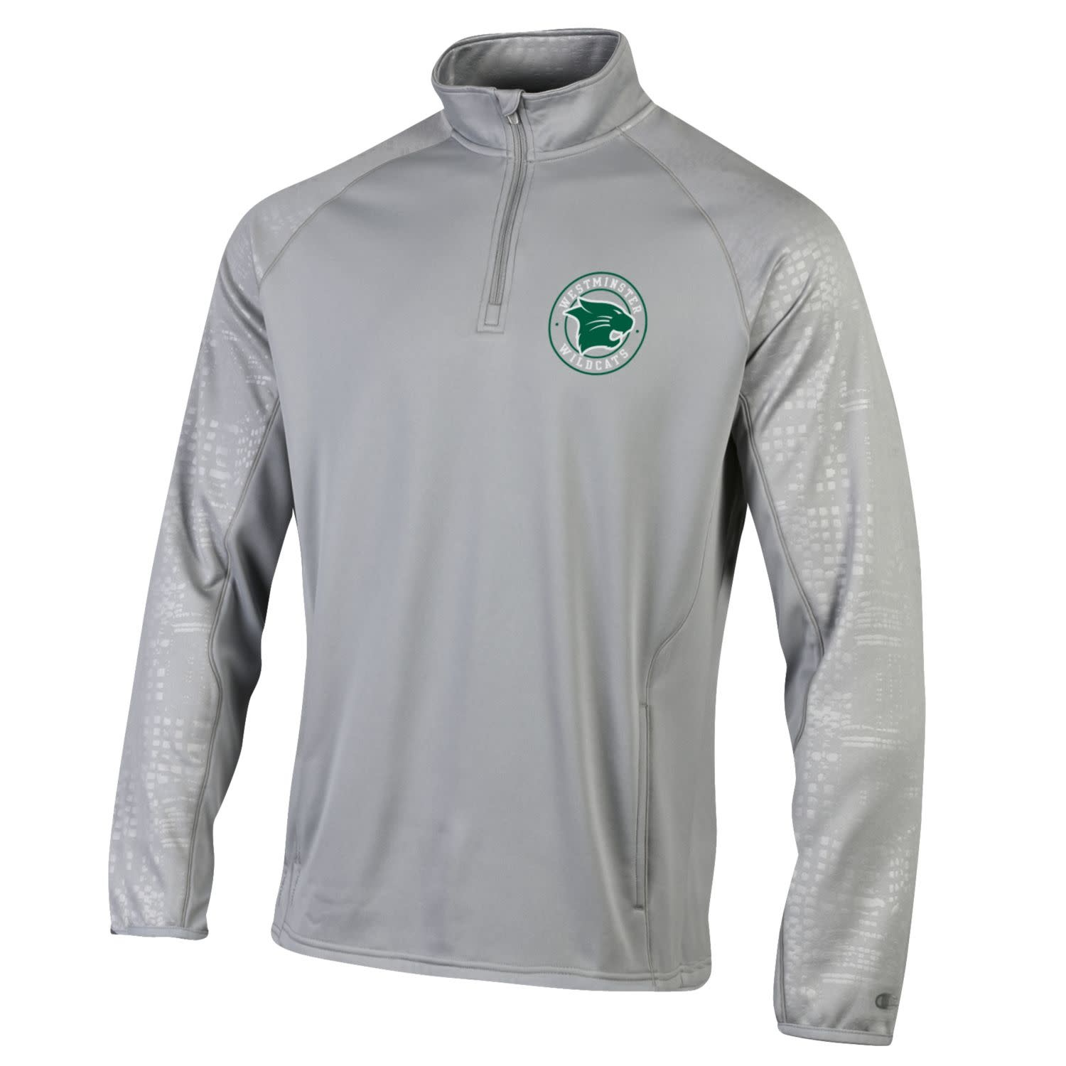 Champion Pullover: Champion 1/4 Zip Powertrain Gray with Logo in Circle