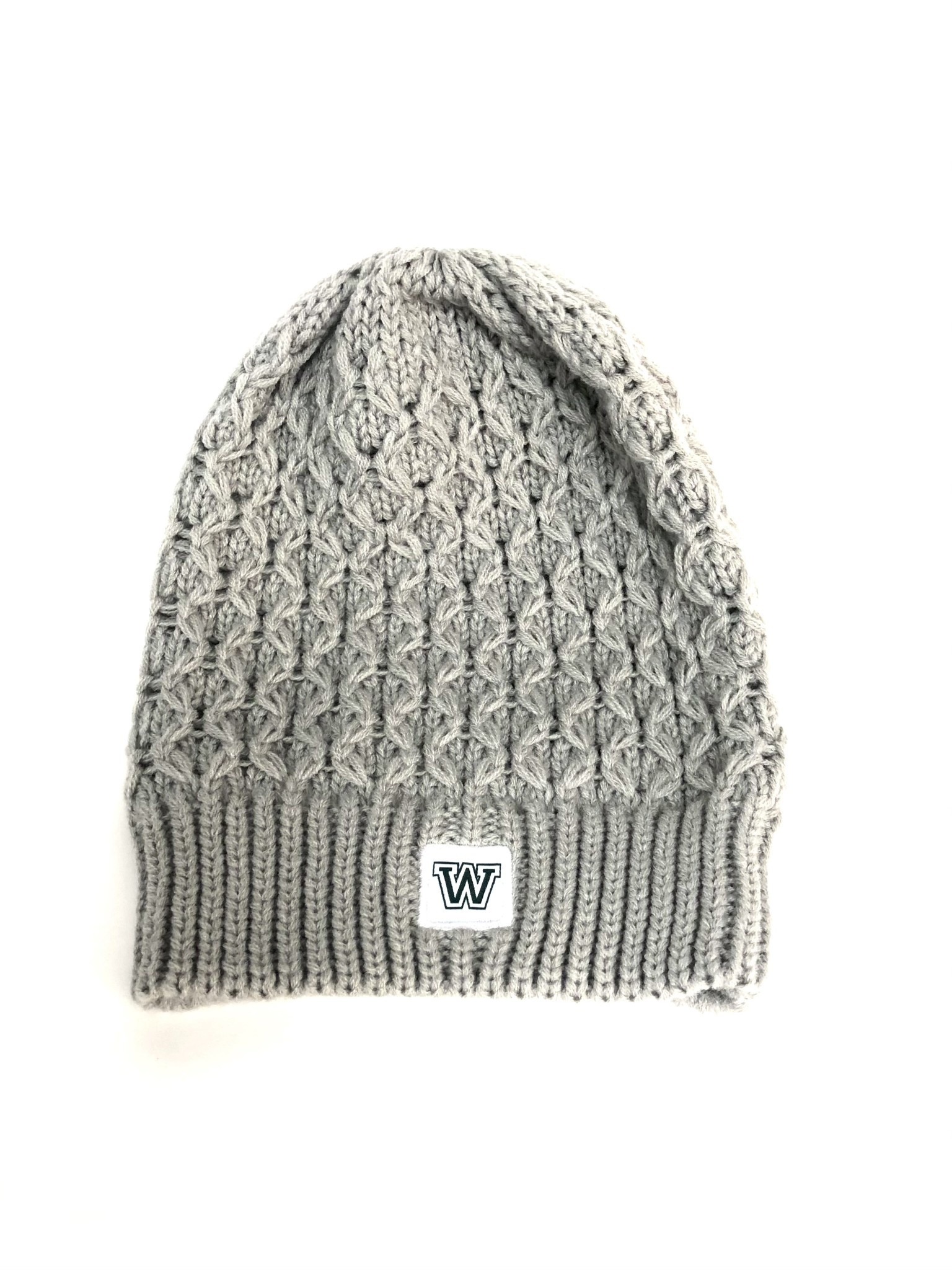Nike Hat: Women's Slouchy Beanie - Pewter Gray with W