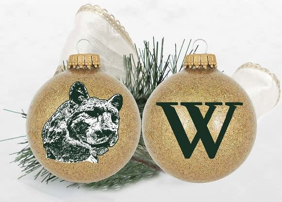 Ornament: Gold Sparkle with Green Turner Cat & W