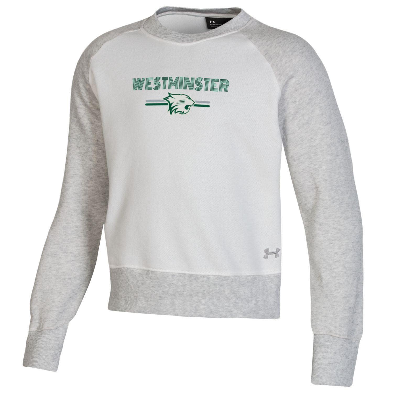 Under Armour Sweatshirt: Girls All Day Fleece Crew - Onyx White