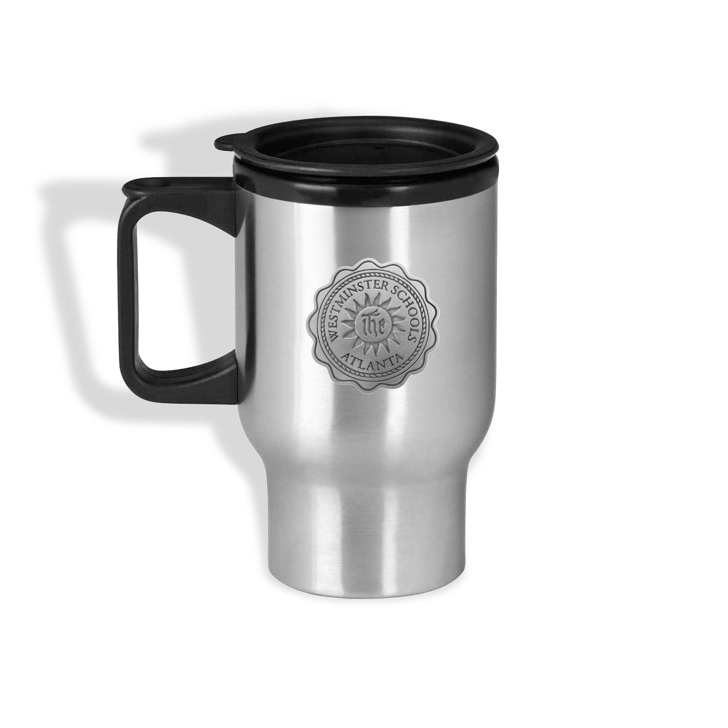 Travel Mug: Stainless Steel  with handle Wesminster Seal