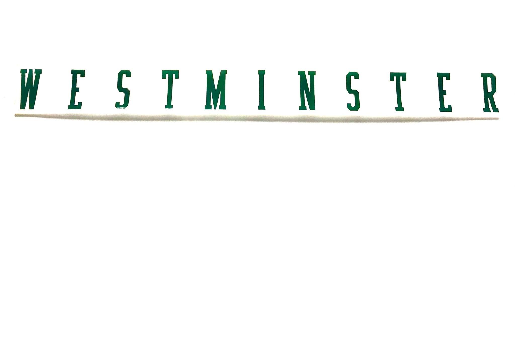 Sticker: Westminster long w/Green Lettering