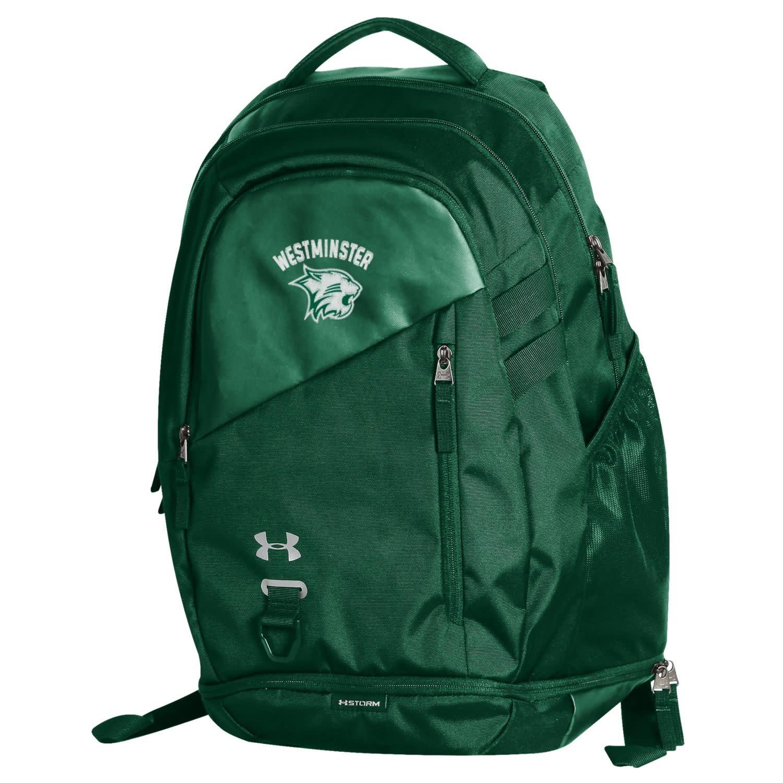 Under Armour Backpack: UA Hustle 4.0 Forest Green - Green Westminster