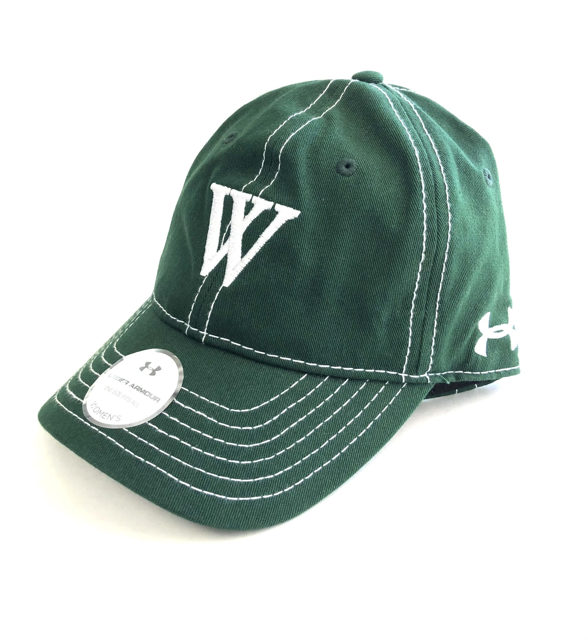 Under Armour Hat: UA Womens Garment washed green with W
