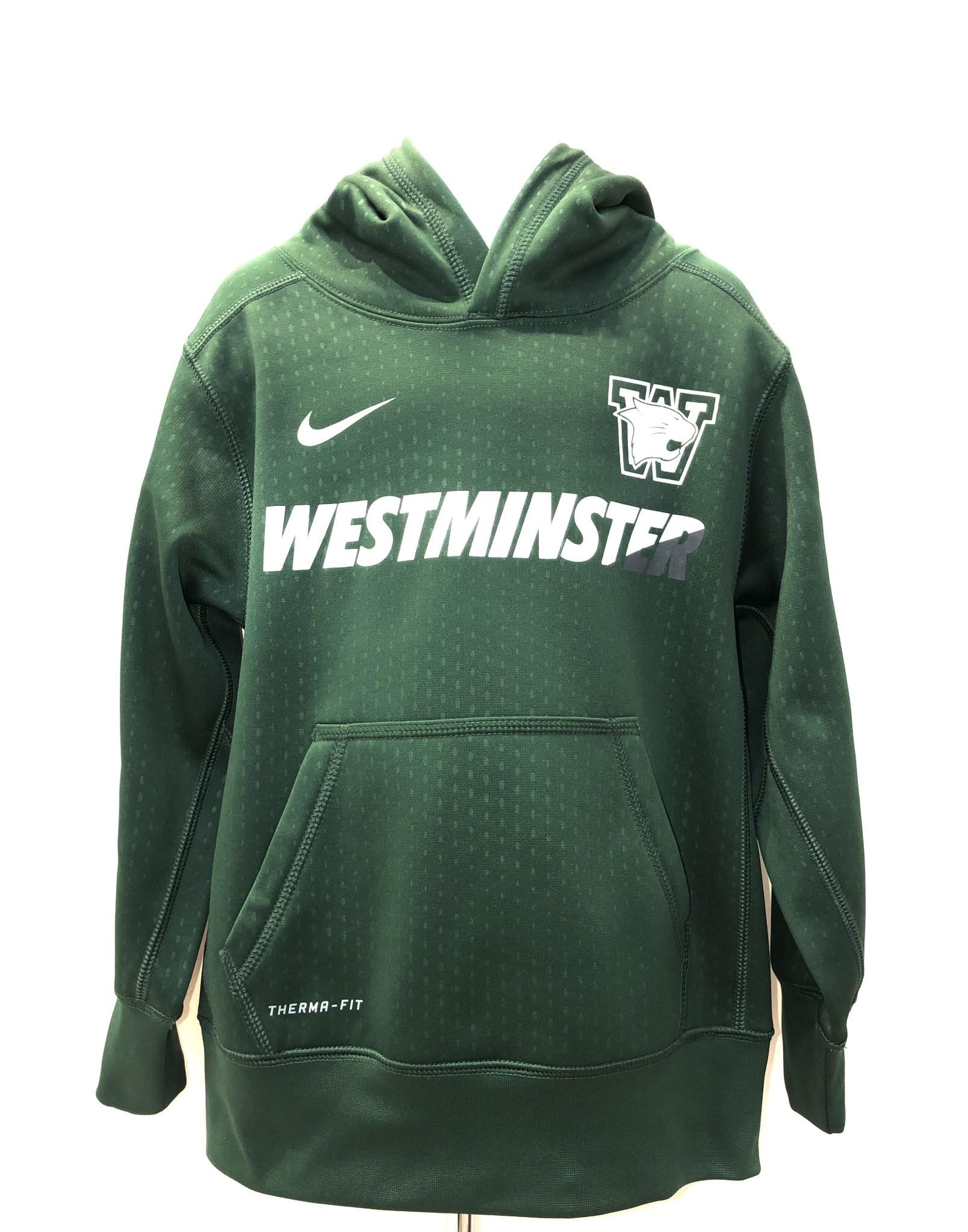 Nike Sweatshirt: Nike  Boys Green Sideline Embossed KO Hoody Westminster in 2-tone
