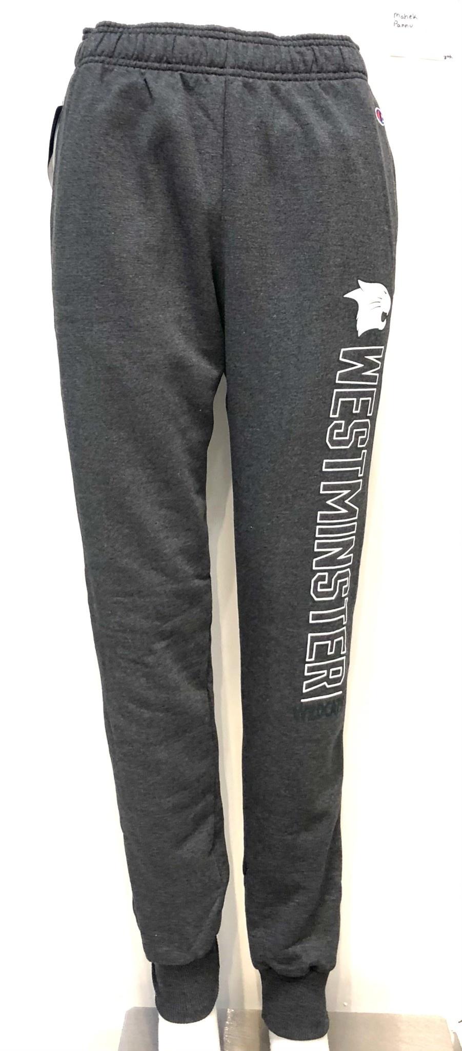Champion Sweatpants: Champion Charcoal Granite Fleece Wildcat Head - WESTMINSTER