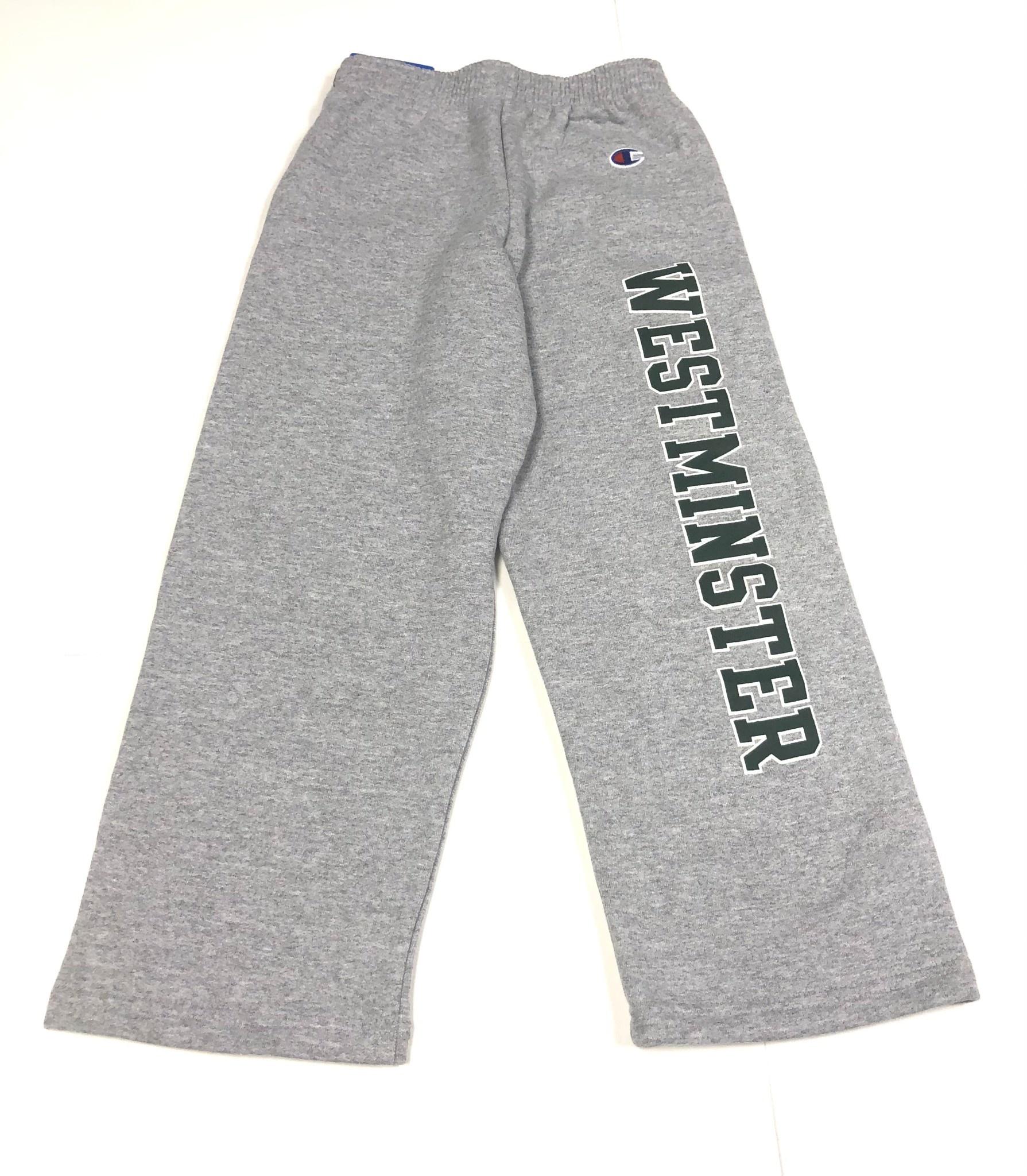 Champion Sweatpants: Champion Gray w/Westminster down leg - open bottom