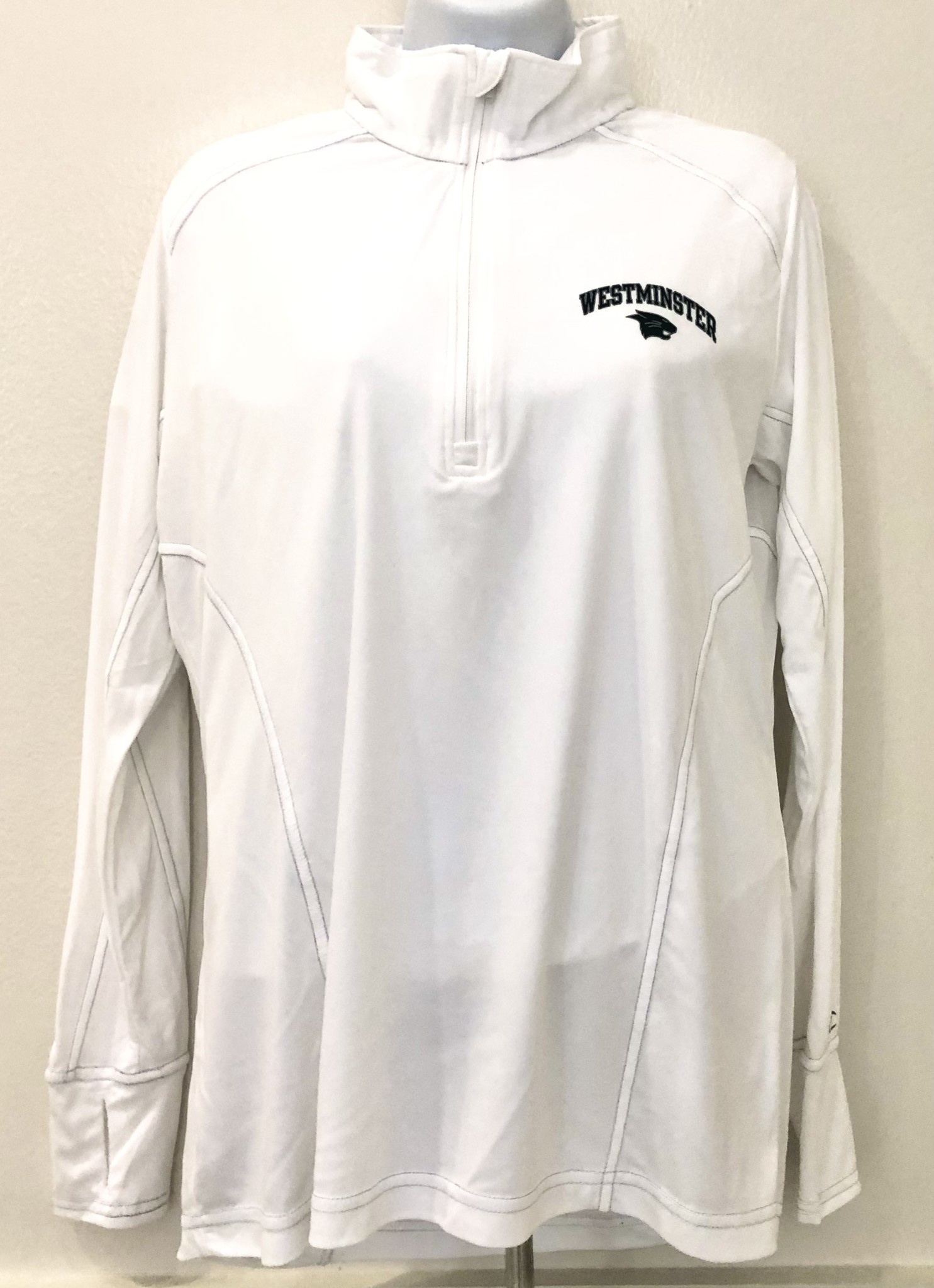 Champion Pullover: Champion Women's 1/4 zip White vapor w/West over cat