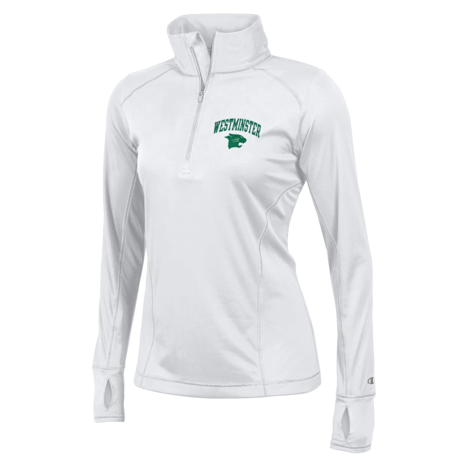 Champion Pullover: Champion Women's 1/4 zip Vapor Powertrain White logo