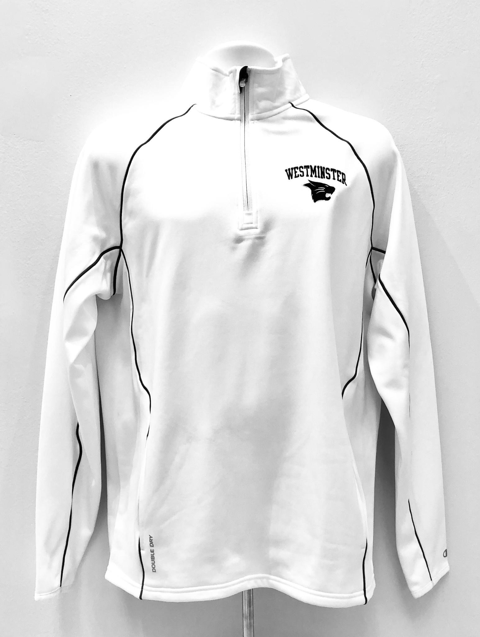 Champion Pullover: Champion 1/4 Zip - white w/gray piping