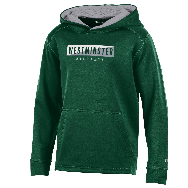 Hoody: Champion Athletic Fleece Dark Green w/ White Gray Rectangle