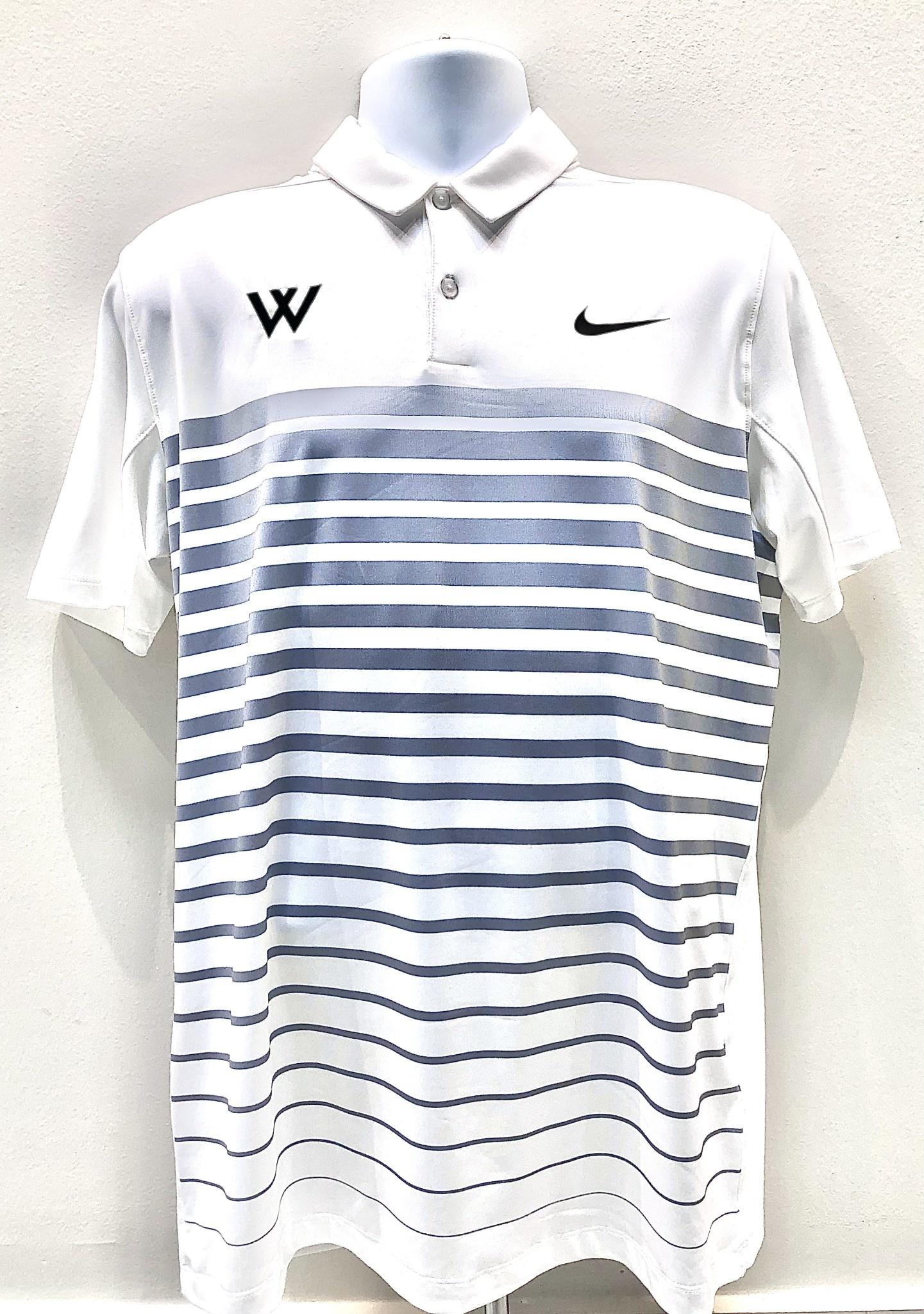 Nike Polo: Nike Medium Mobility Print Wolf Gray Stripes with Green W