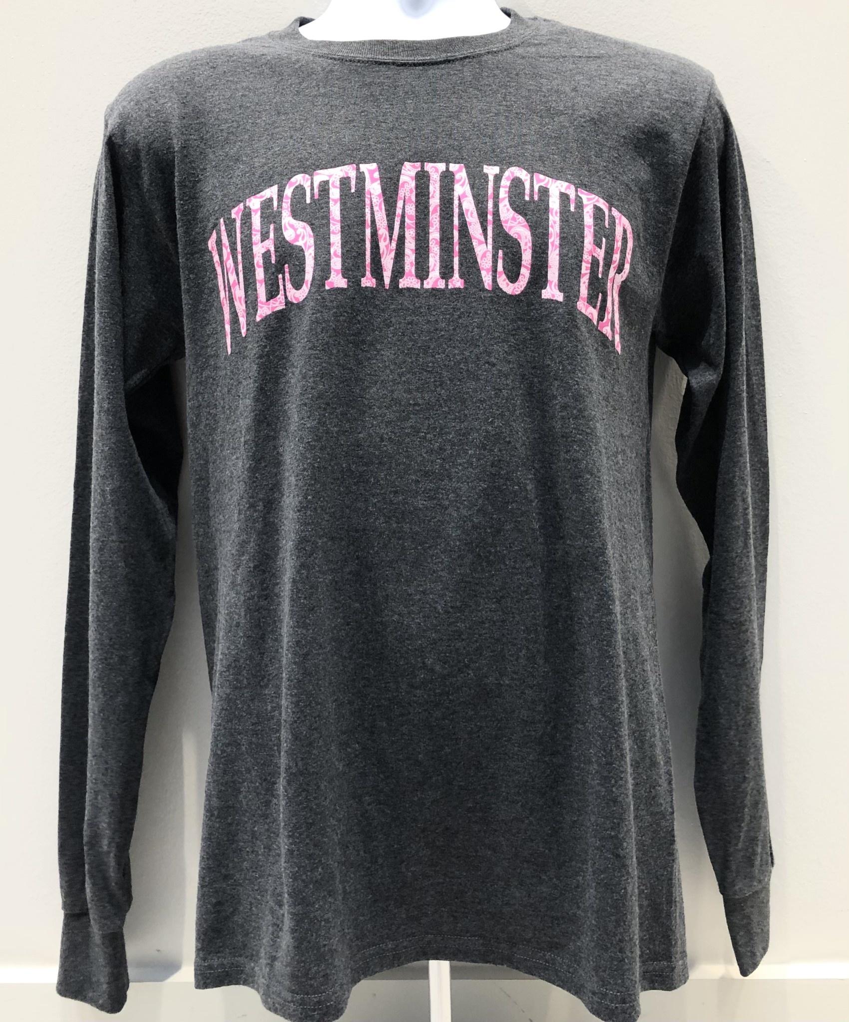 Champion T: Champion Women's Granite Heather LS Tee w/Pink Westminster Paisley