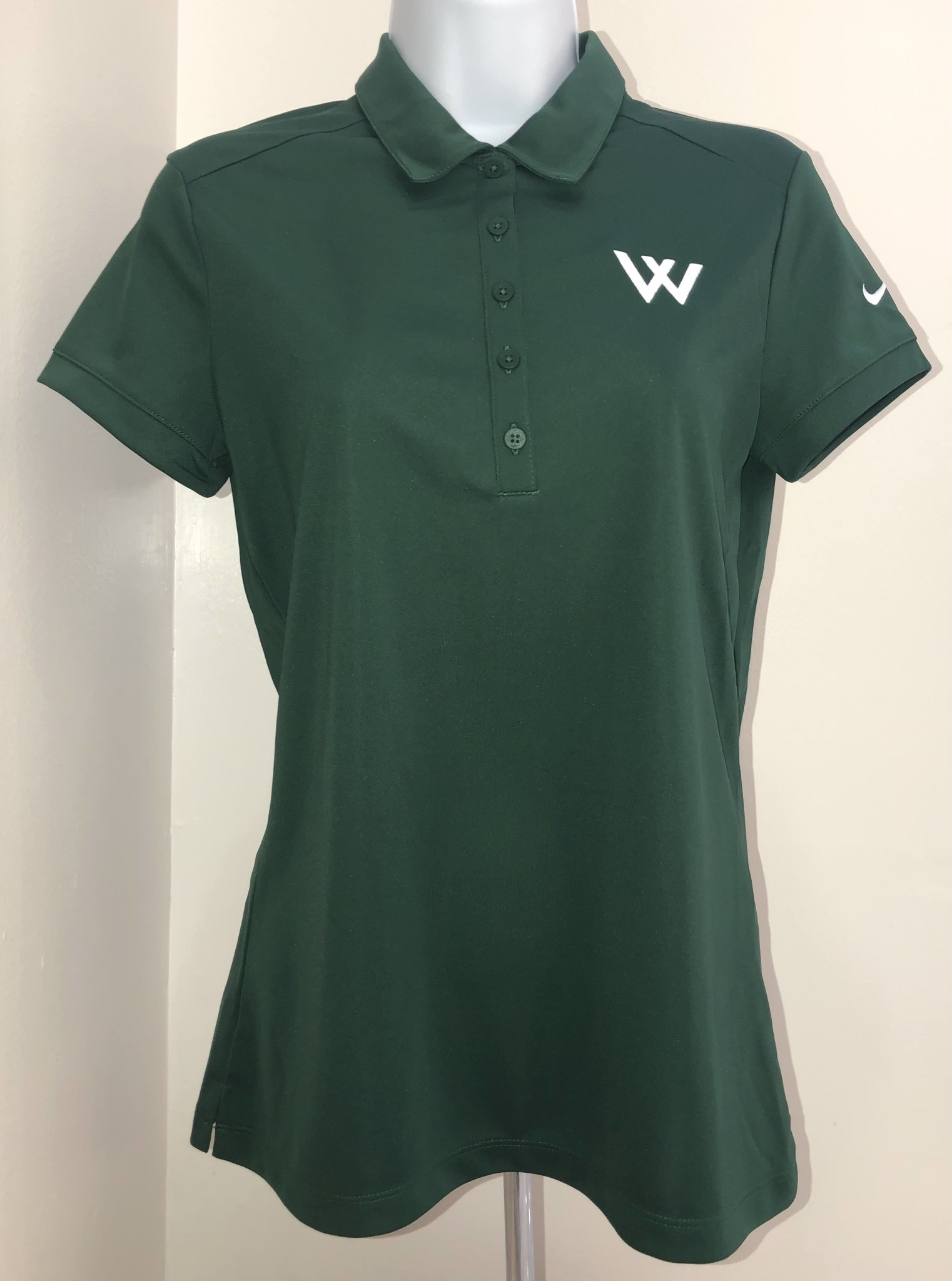 Nike Polo: Nike Women's Victory Solid Green w/White W