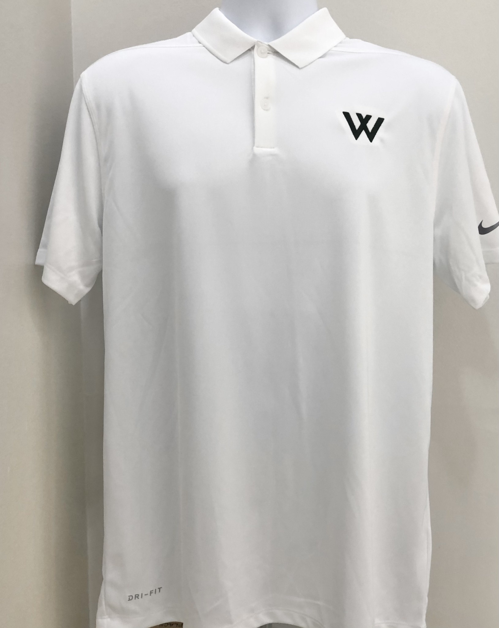 Nike Polo: Nike Victory White with green W
