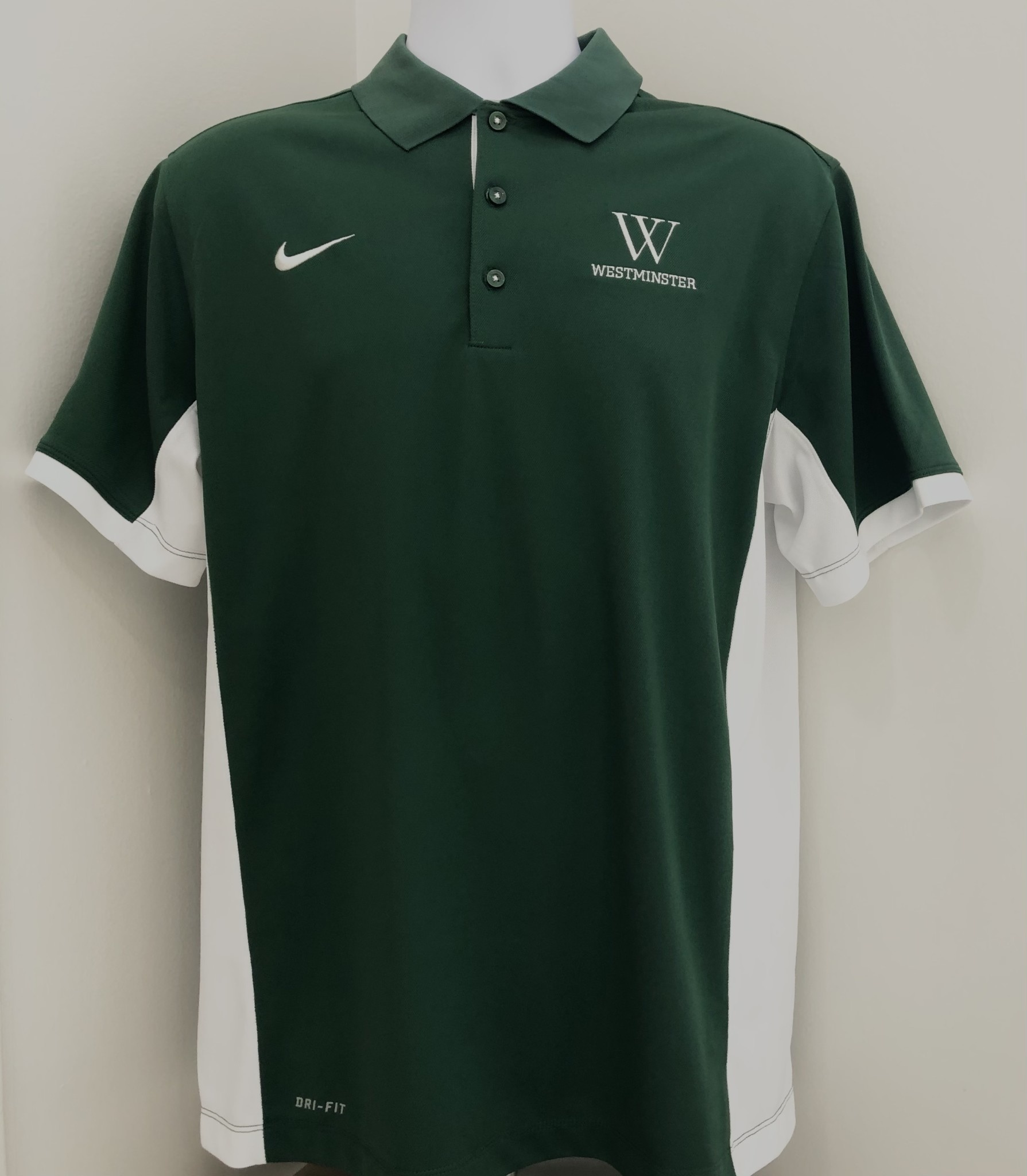 Nike Polo: Nike Team Issue Green with White on Side W over Westminster