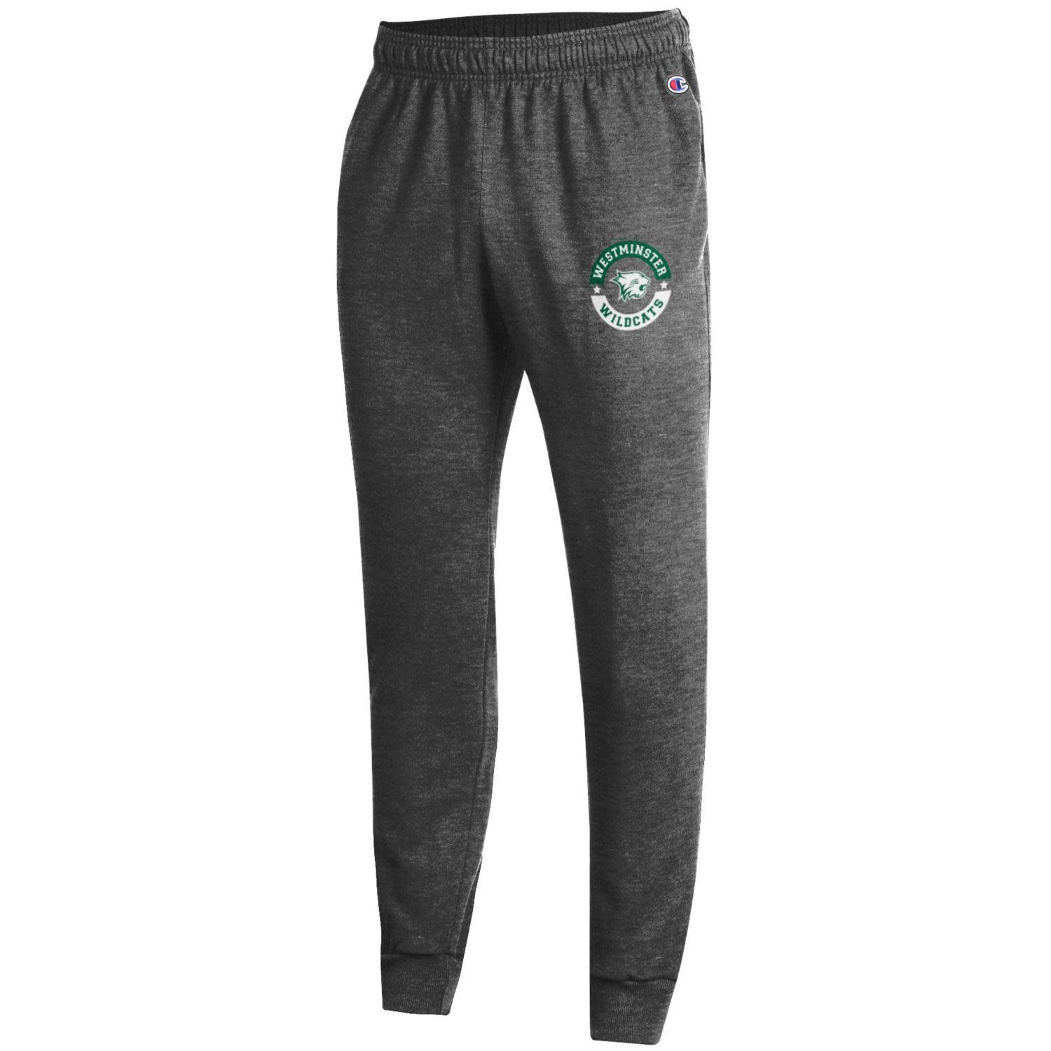 Champion Sweatpants: Champion Charcoal Fleece Jogger w/ Circle Stars