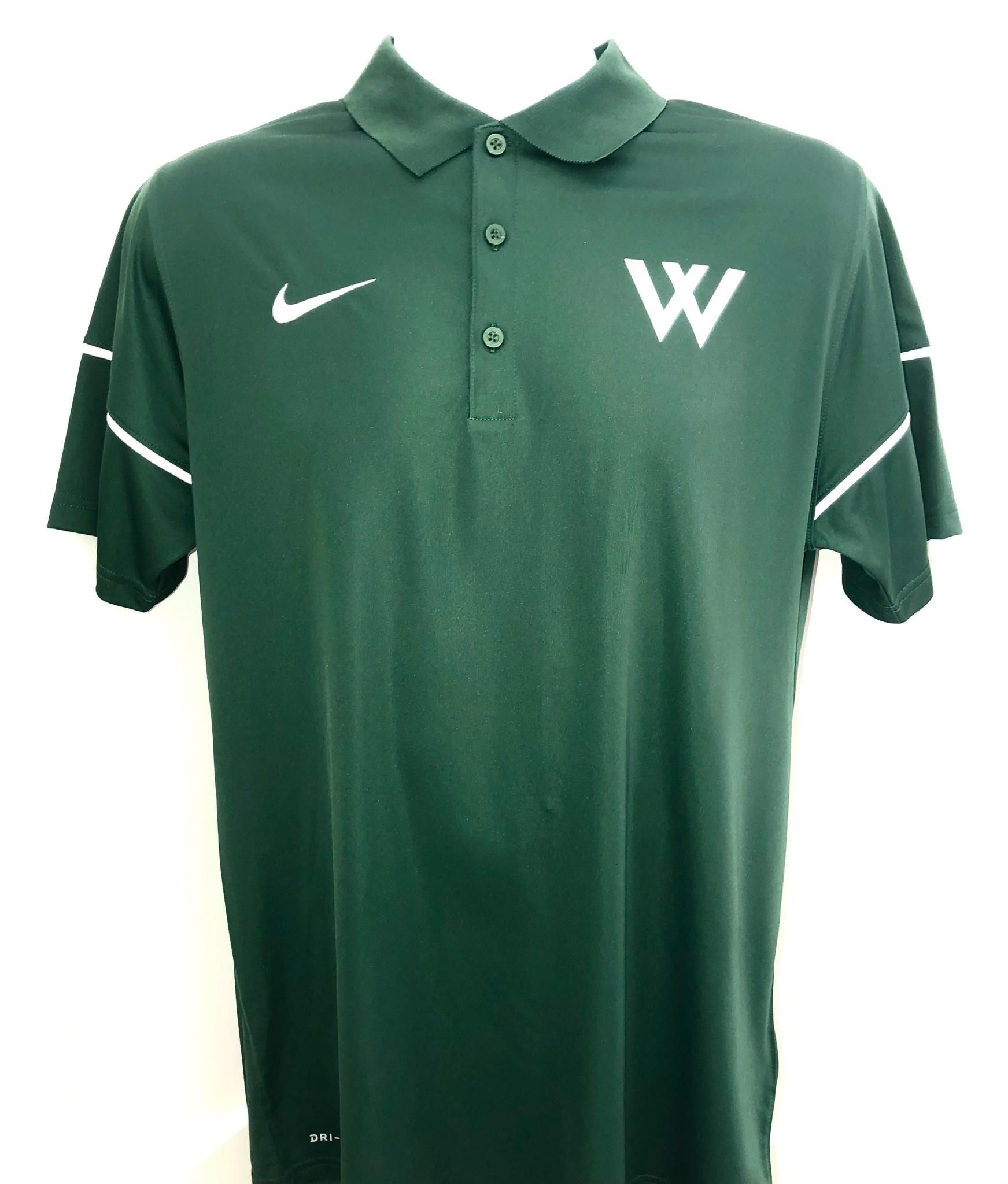 Nike Polo: Nike Team Issue Green w/W - Size Medium Only