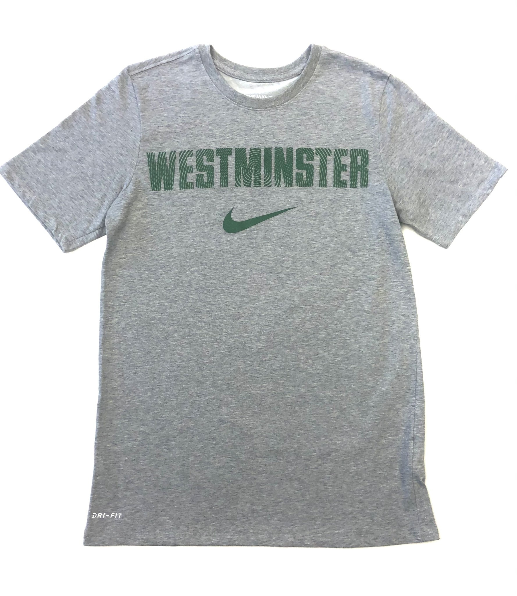 Nike T: Nike Dri-fit Cotton SS Gray w/green lettering