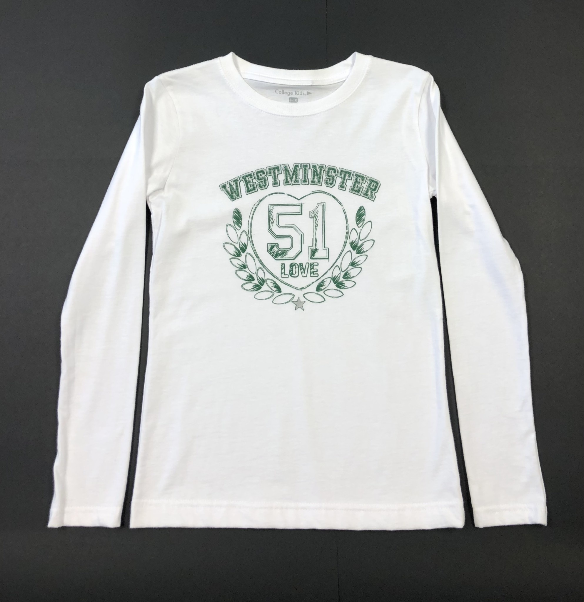 College Kids T: College Kids LS Girls' White Westminster 51 Love with Silver Star