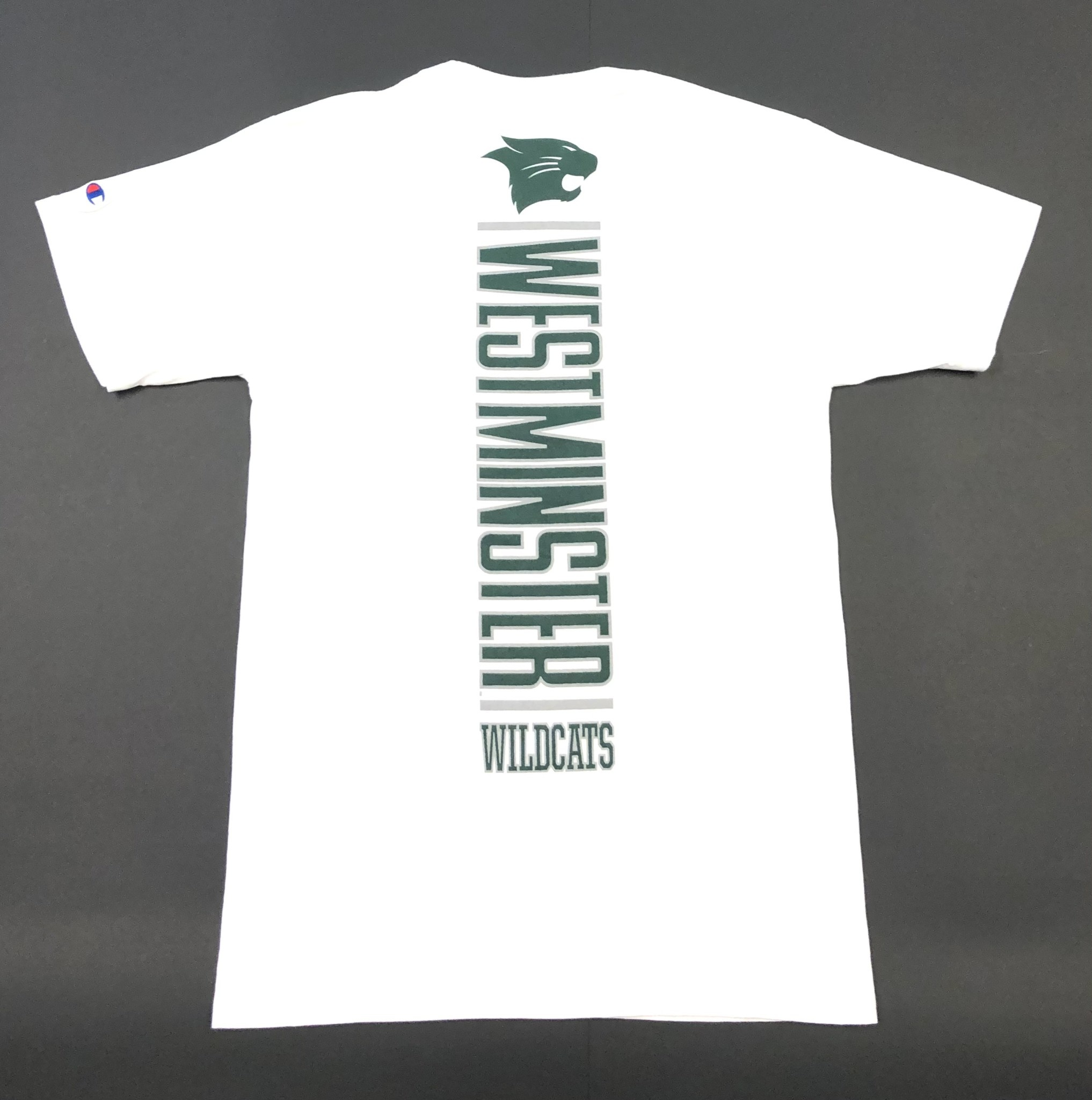 Champion T: Champion Basic White Tee - Vertical West Wild on back