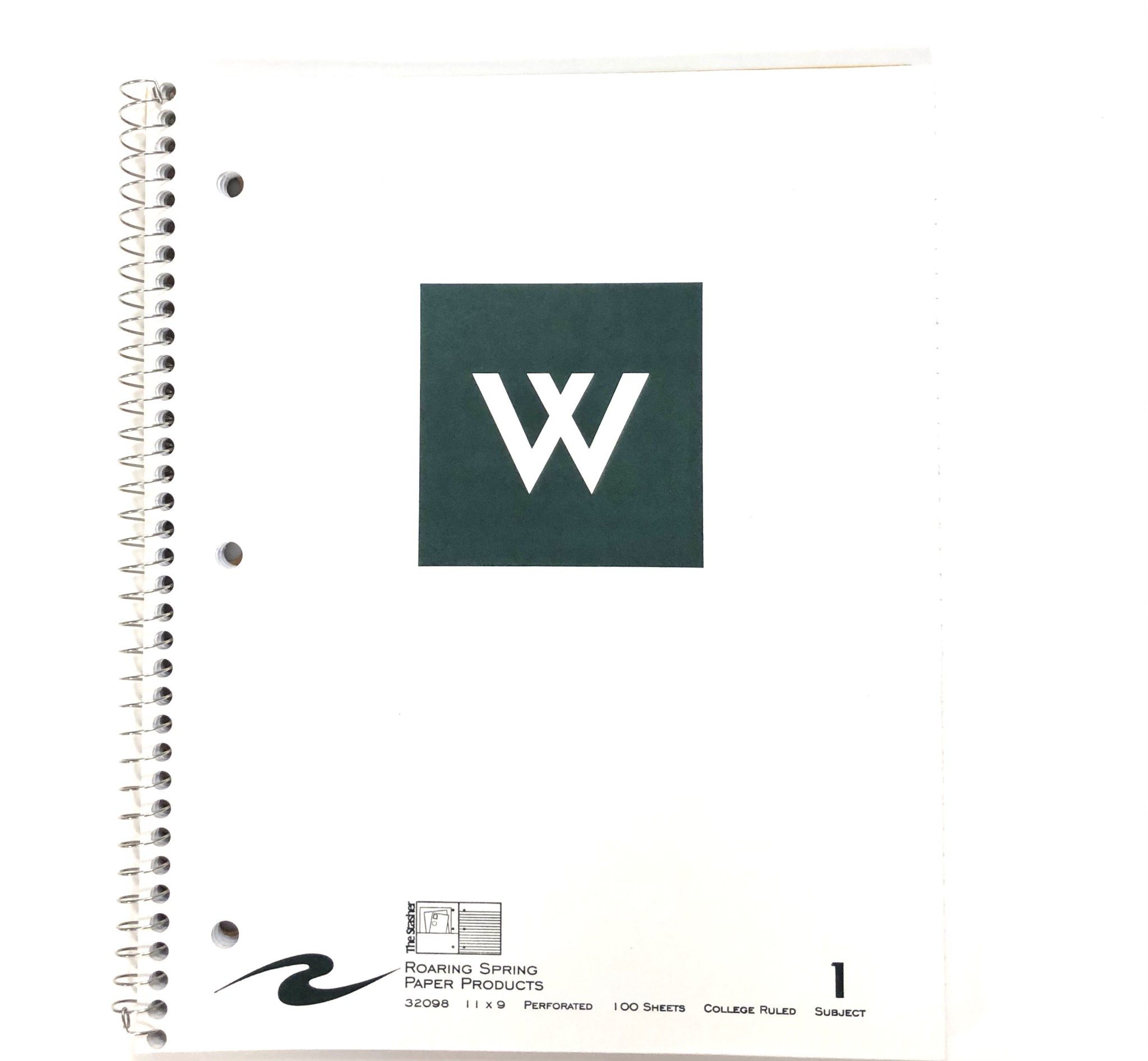 Notebook: White Westminster w/new W - 1 Subject