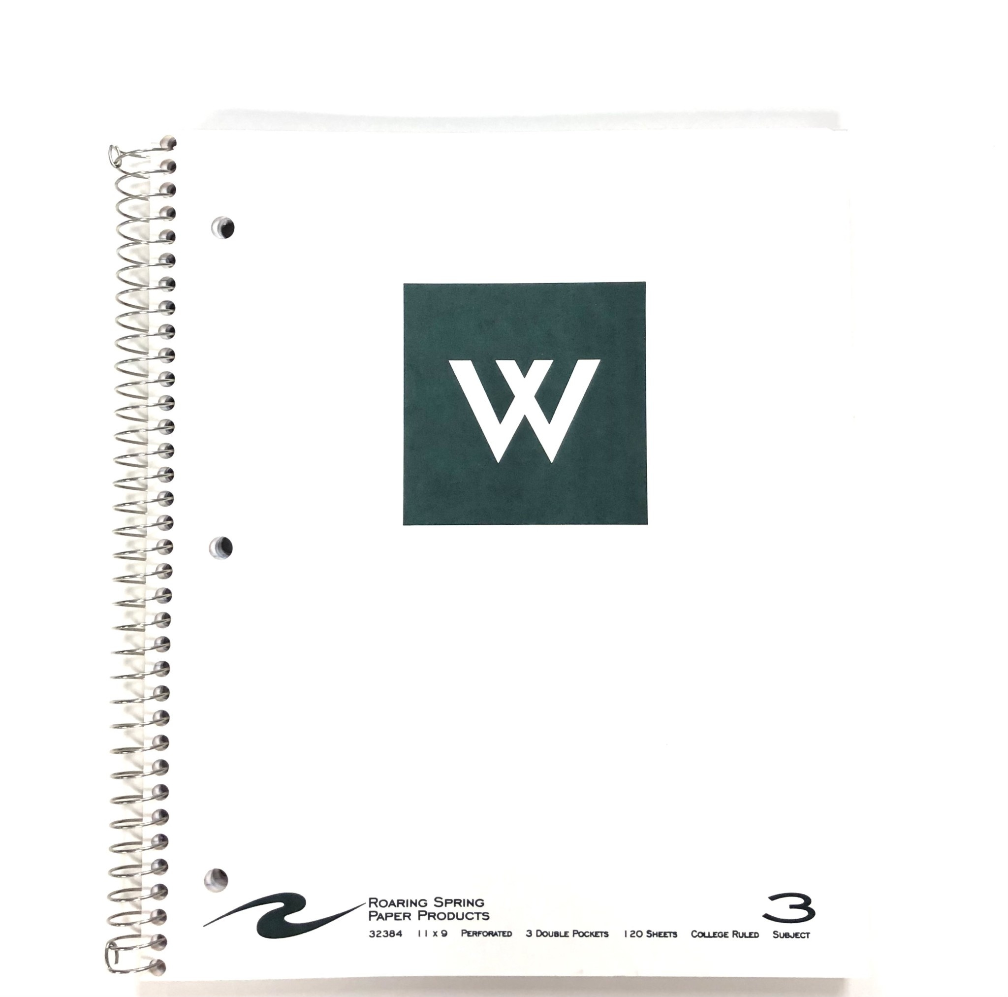 Notebook: White Westminster w/new W - 3 Subject
