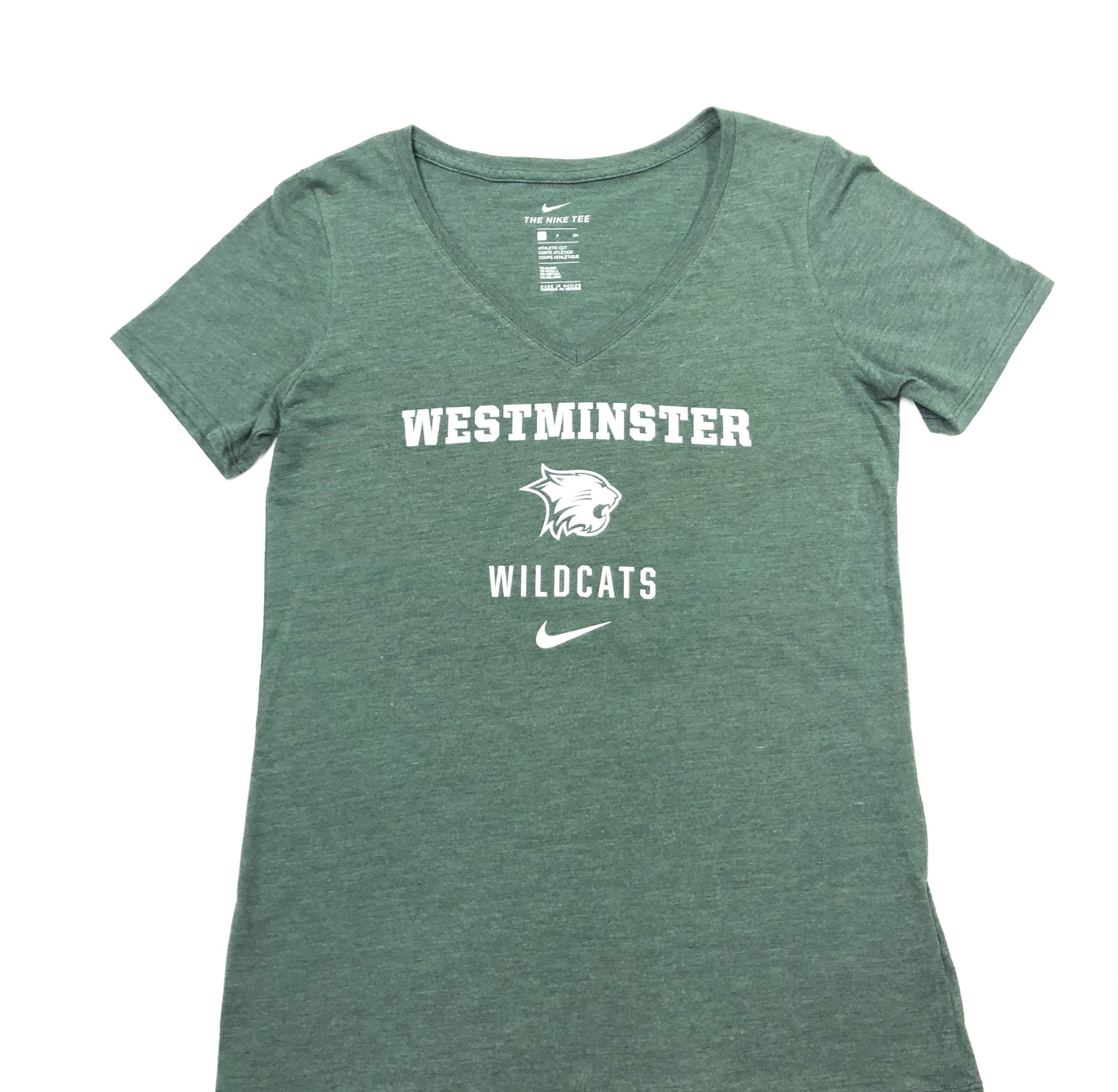 Nike T: Nike Women's Tri-blend Mid V- Heather Green w/ West Wildcats & Logo