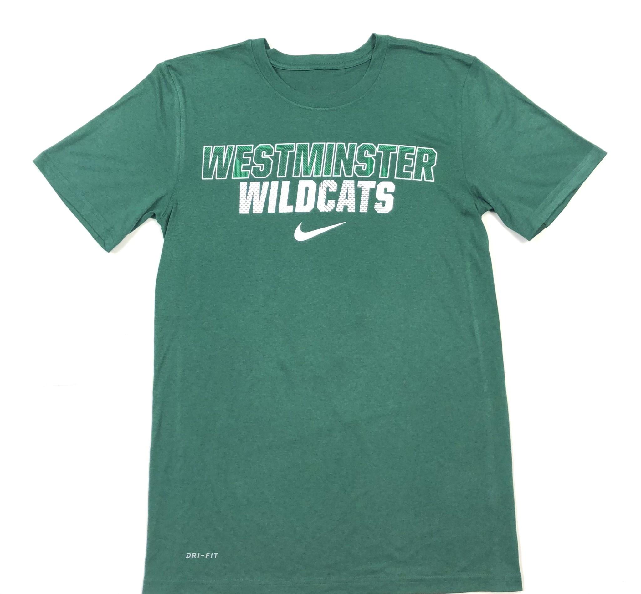 Nike T: Nike Legend SS Dri-fit Green w/Patterned Westminster Wildcats