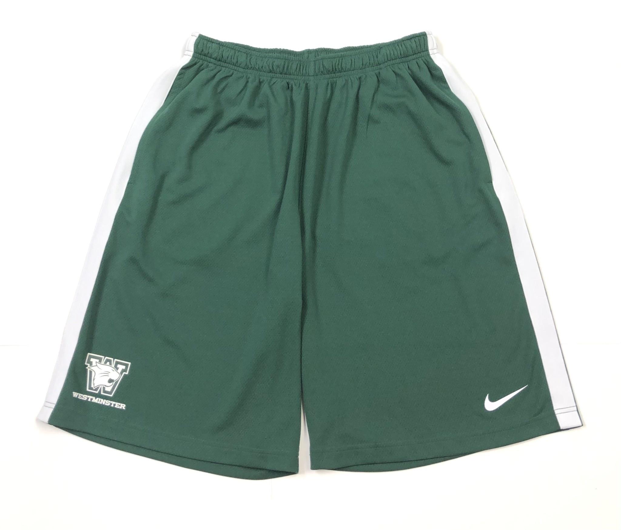 Nike Shorts: Nike Epic Dark Green/White with White Side Stripe