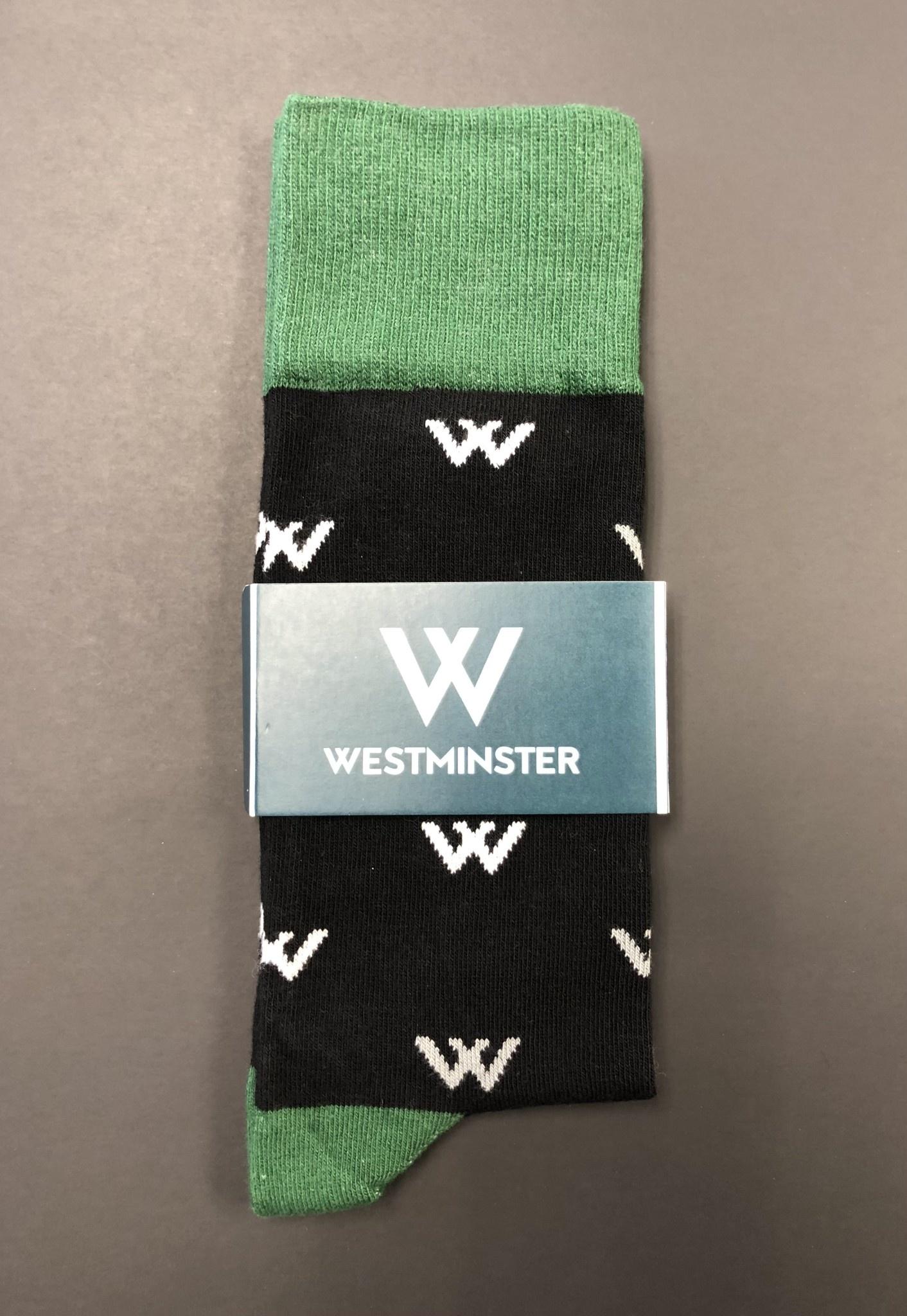 Socks: Black Dress Sock W Print